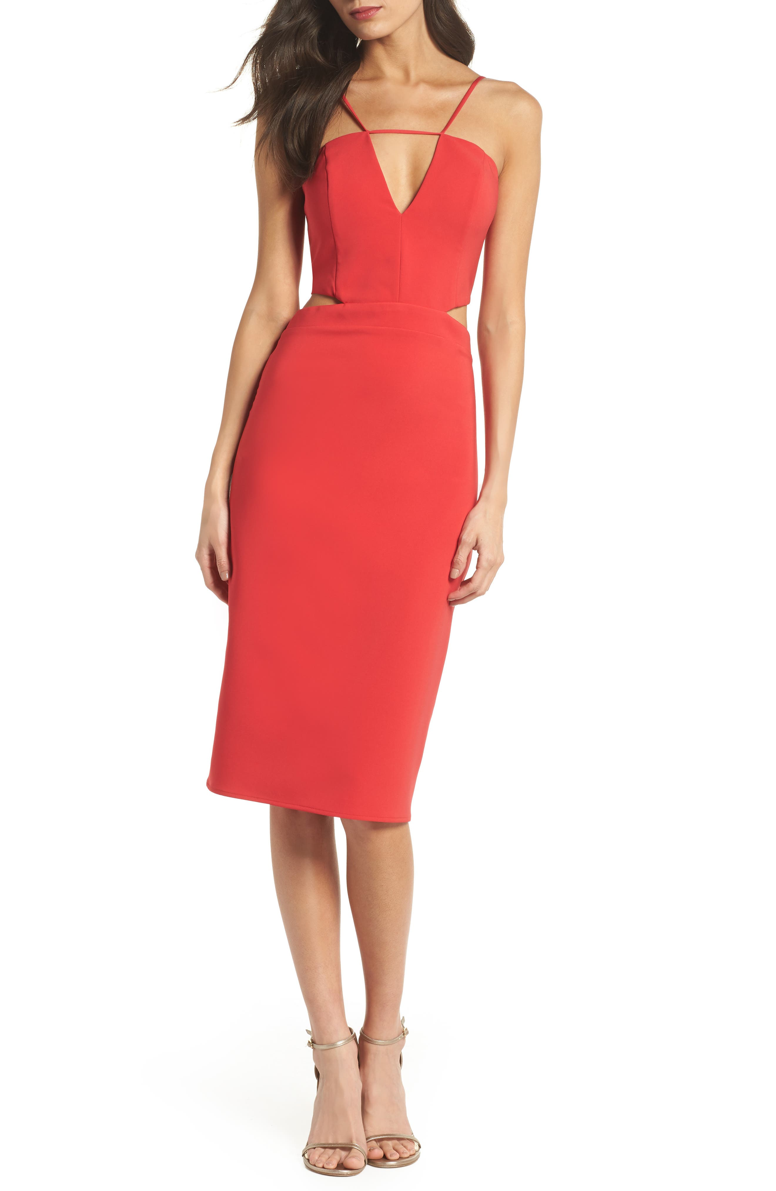 Melani Strappy Cutout Dress,                         Main,                         color, Red