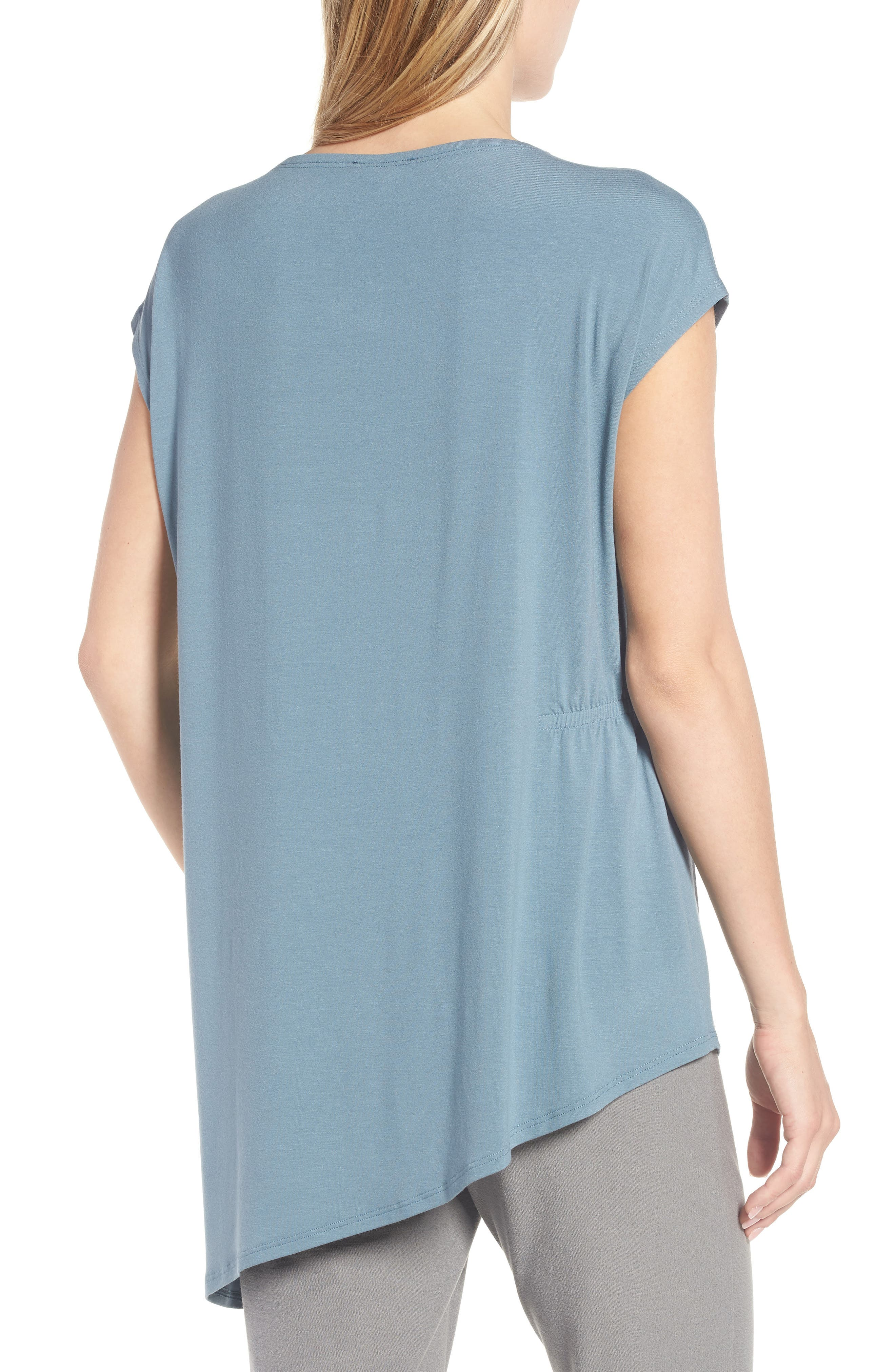 Asymmetrical Stretch Jersey Top,                             Alternate thumbnail 2, color,                             Blue Steel