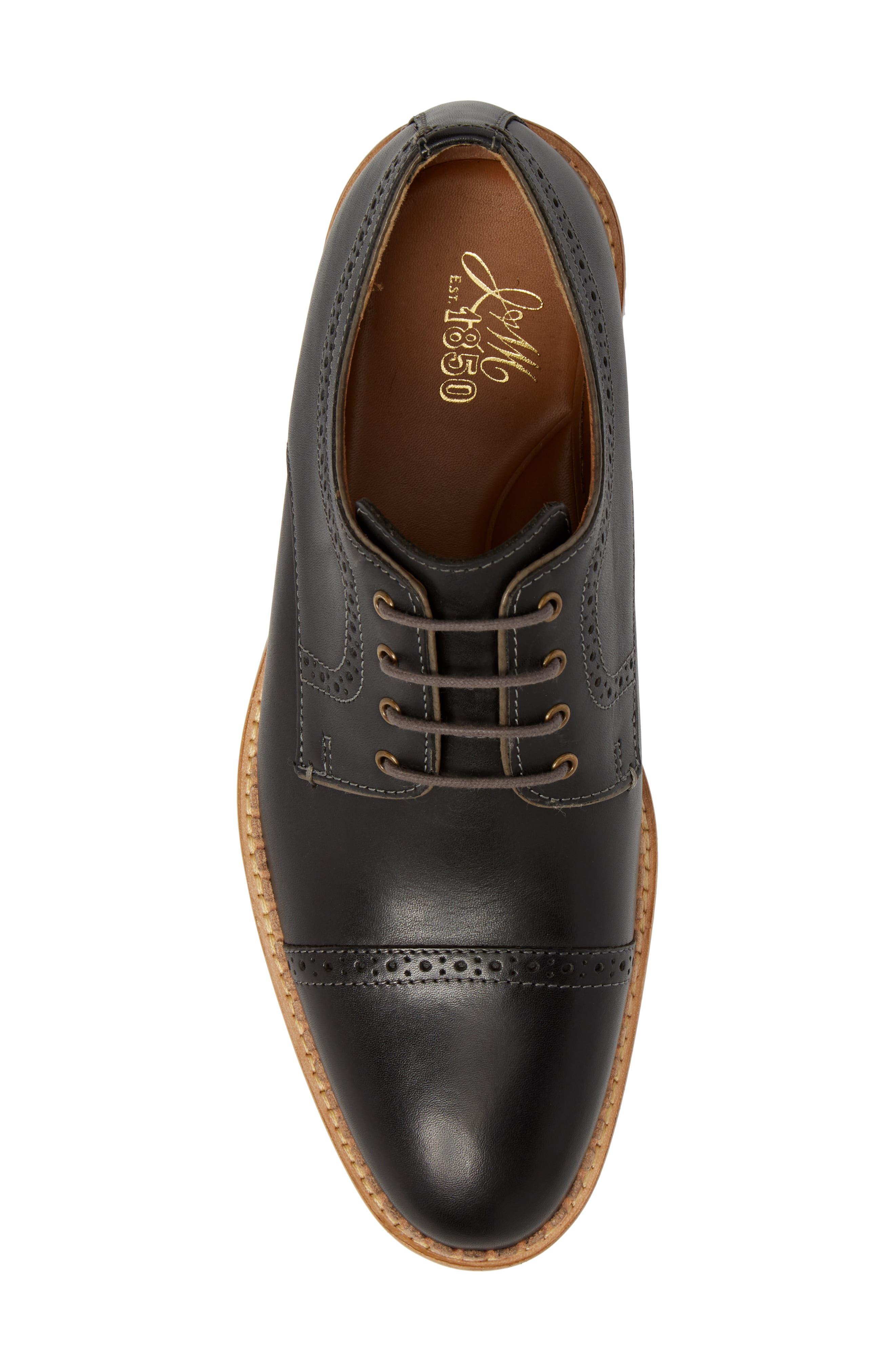 Chambliss Cap Toe Derby,                             Alternate thumbnail 5, color,                             Black Leather