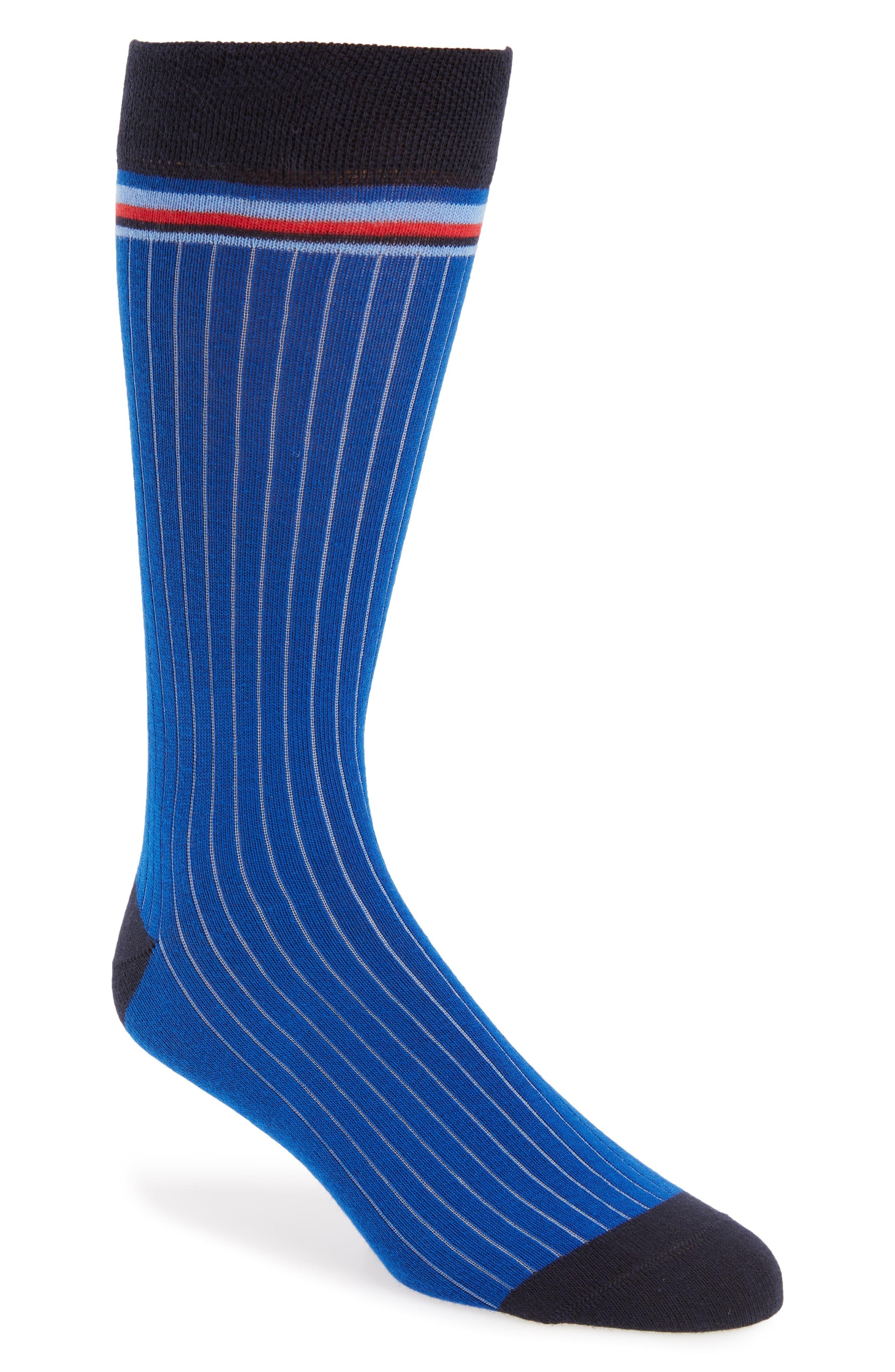 Pegbra Stripe Socks,                         Main,                         color, Blue