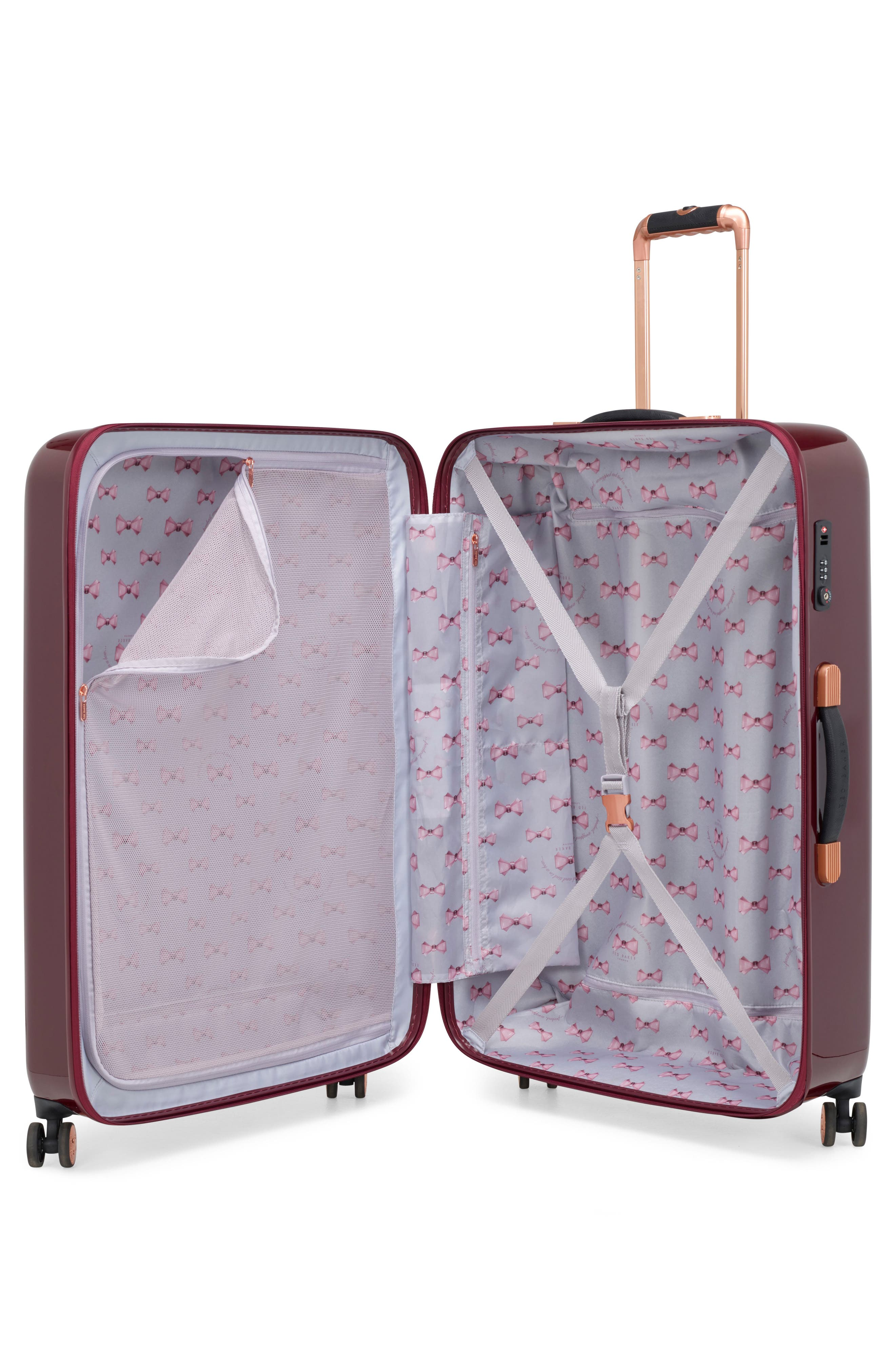 Large Porcelain Rose 31-Inch Hard Shell Spinner Suitcase,                             Alternate thumbnail 2, color,                             Burgundy