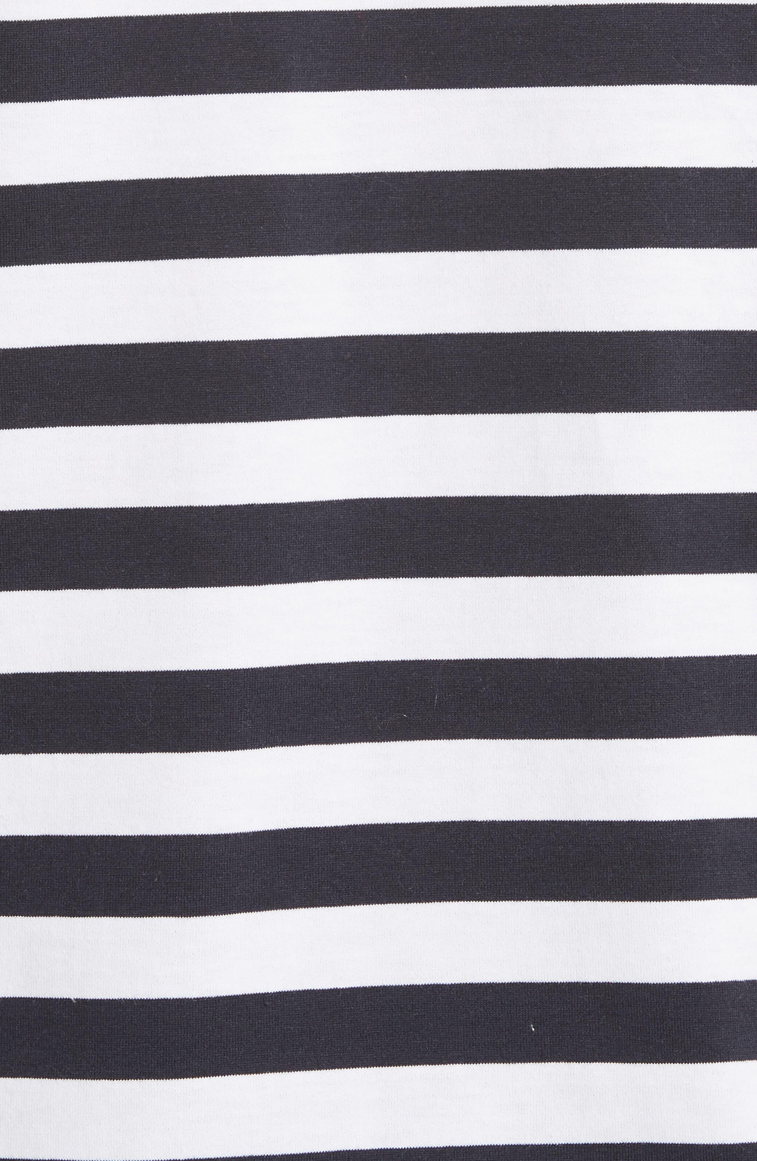 Stripe Long Sleeve T-Shirt,                             Alternate thumbnail 5, color,                             White/Navy