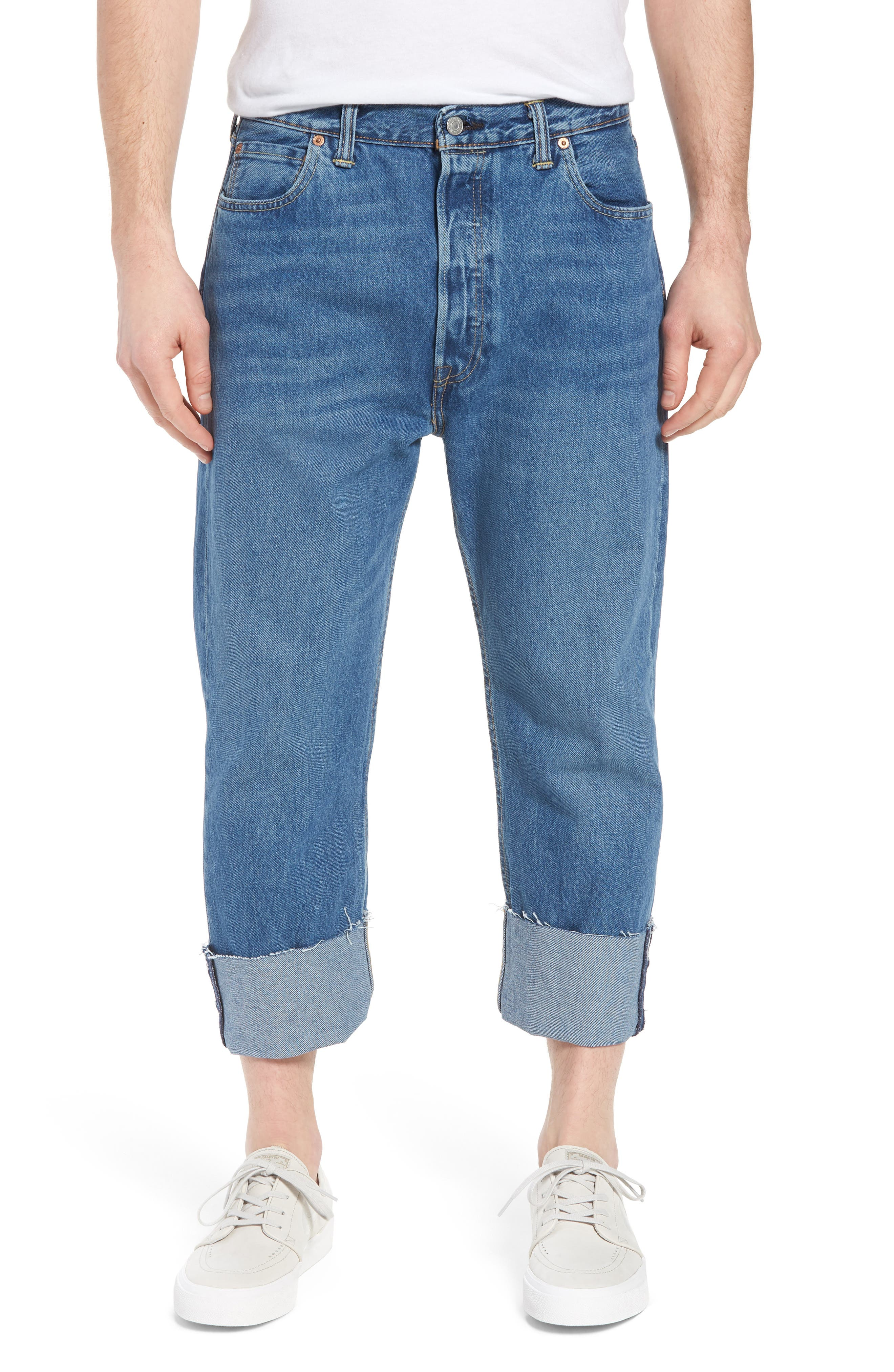 501<sup>™</sup> Straight Leg Jeans,                         Main,                         color, Bunker Indigo