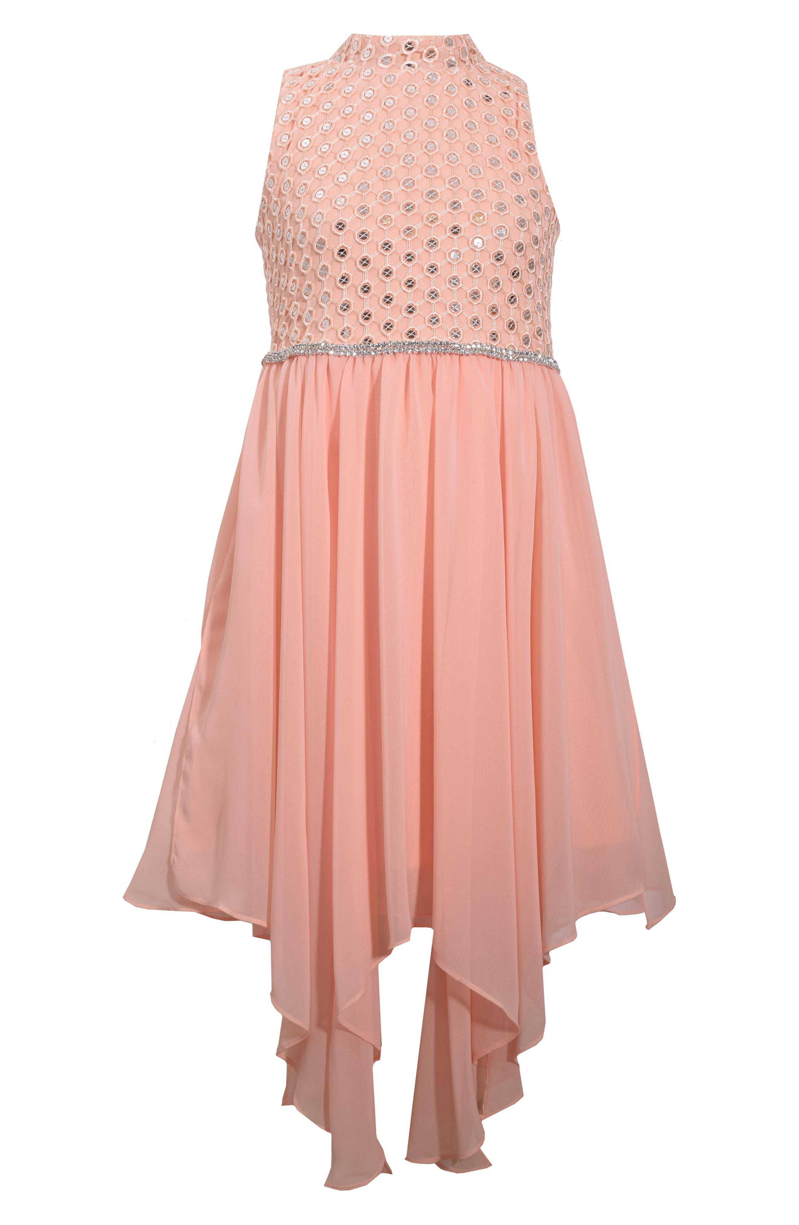 Gerson & Gerson Sequin Handkerchief Hem Dress,                         Main,                         color, Peach