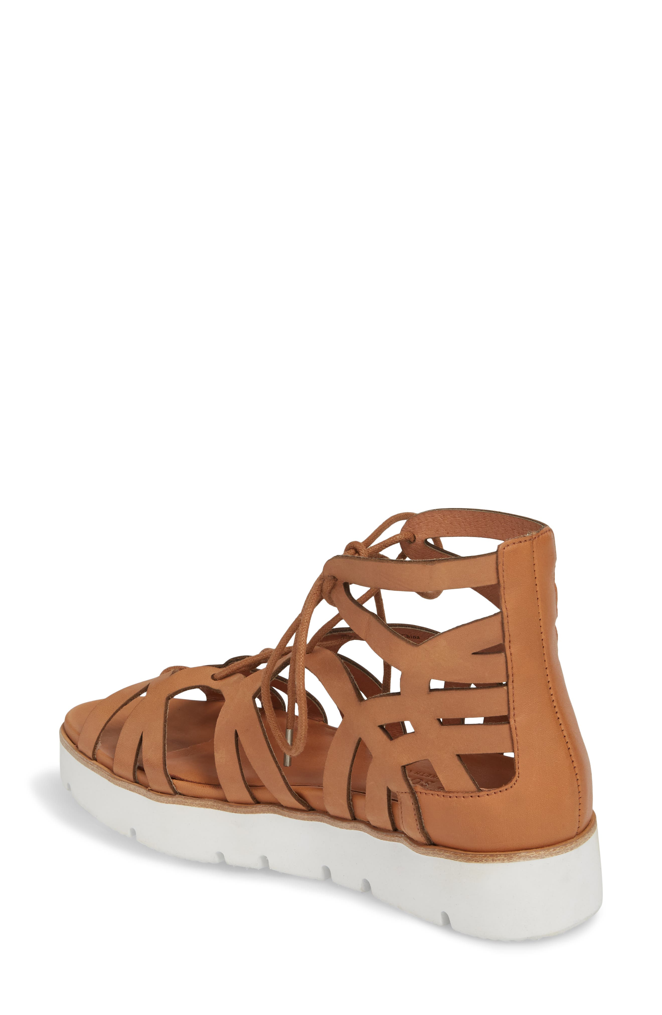 by Kenneth Cole Larina Lace-Up Sandal,                             Alternate thumbnail 2, color,                             Tan Leather