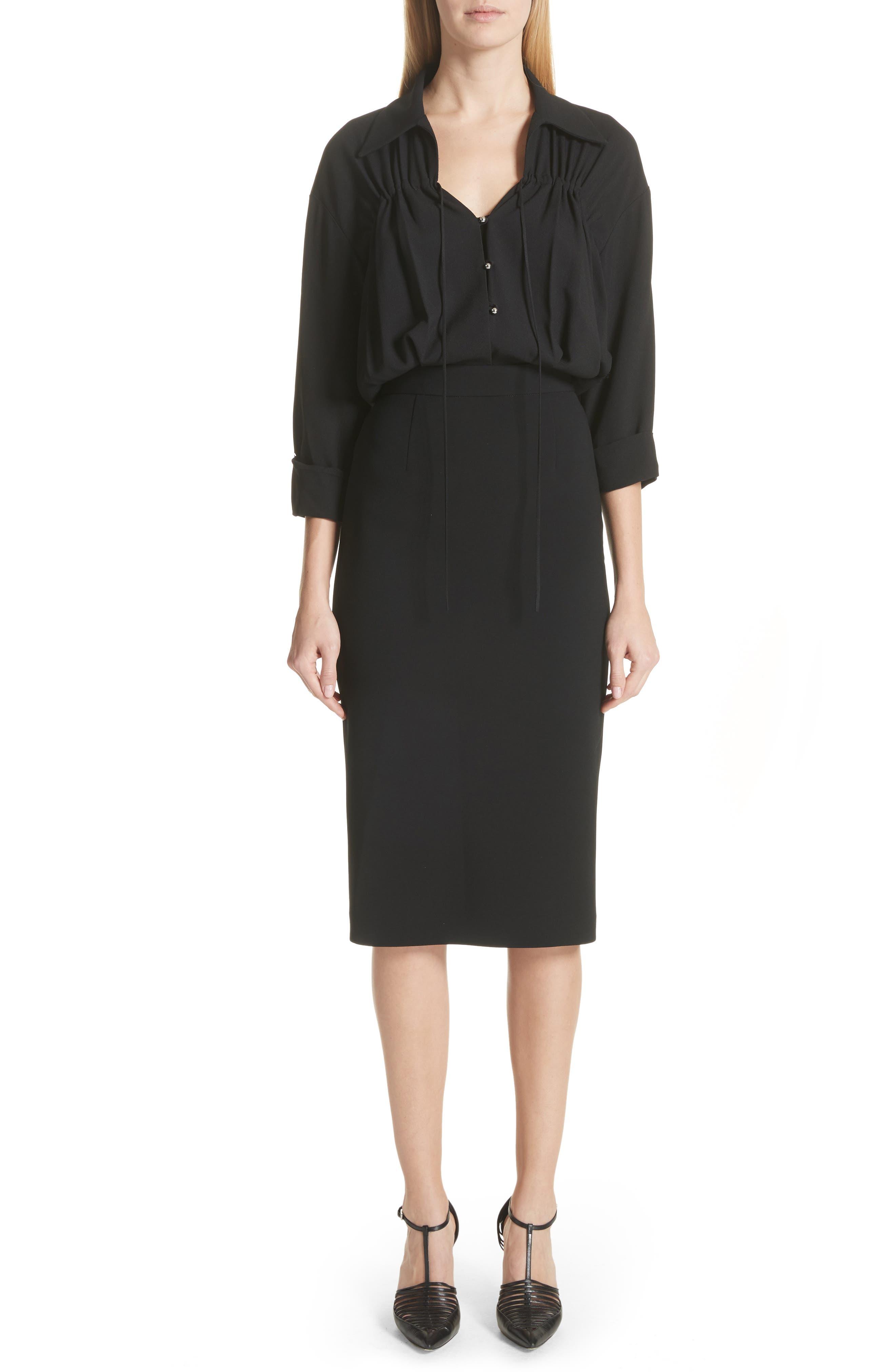 Ruched Blouson Dress,                         Main,                         color, Black