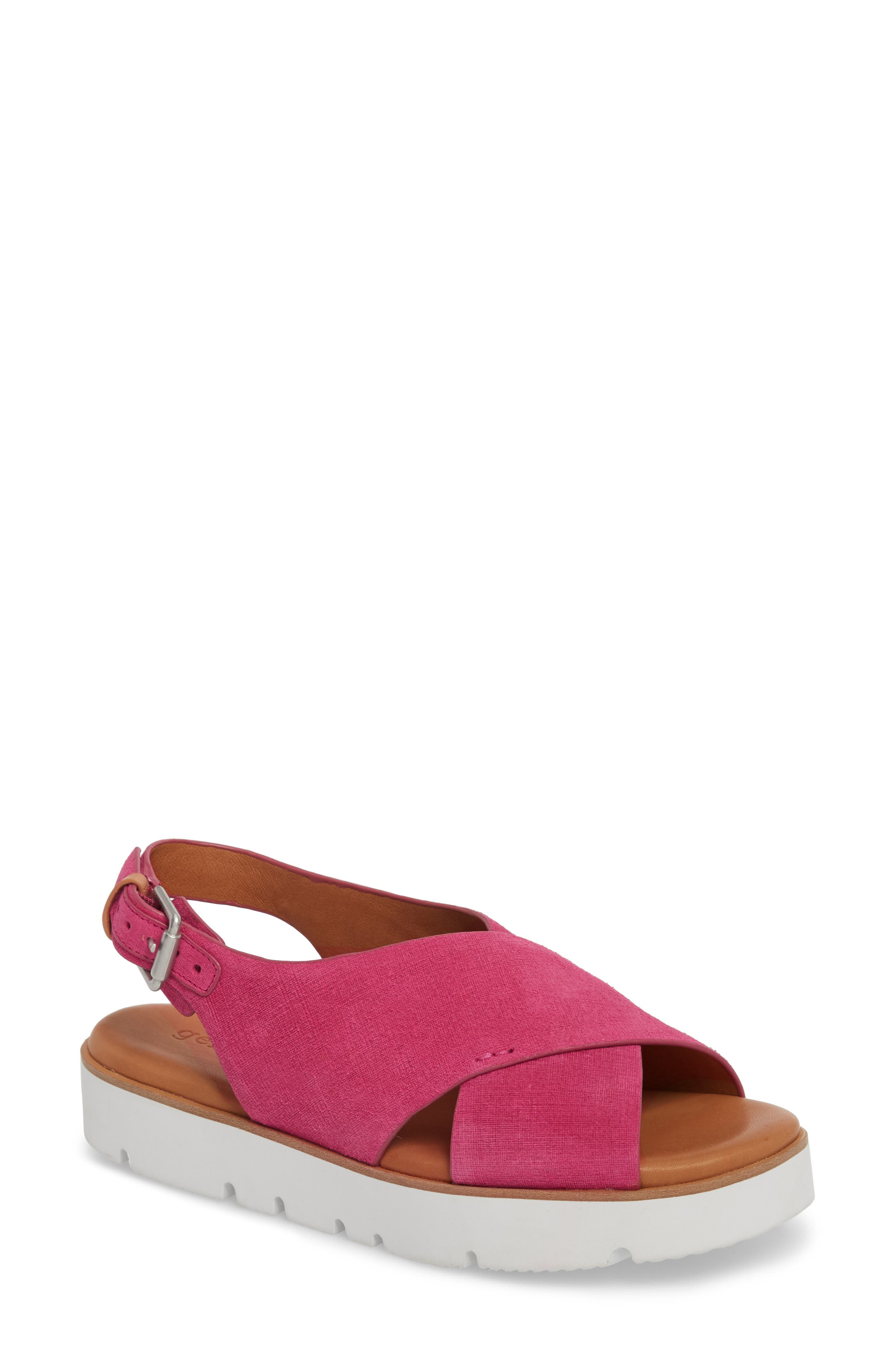 by Kenneth Cole Kiki Platform Sandal,                             Main thumbnail 1, color,                             Fuchsia Suede