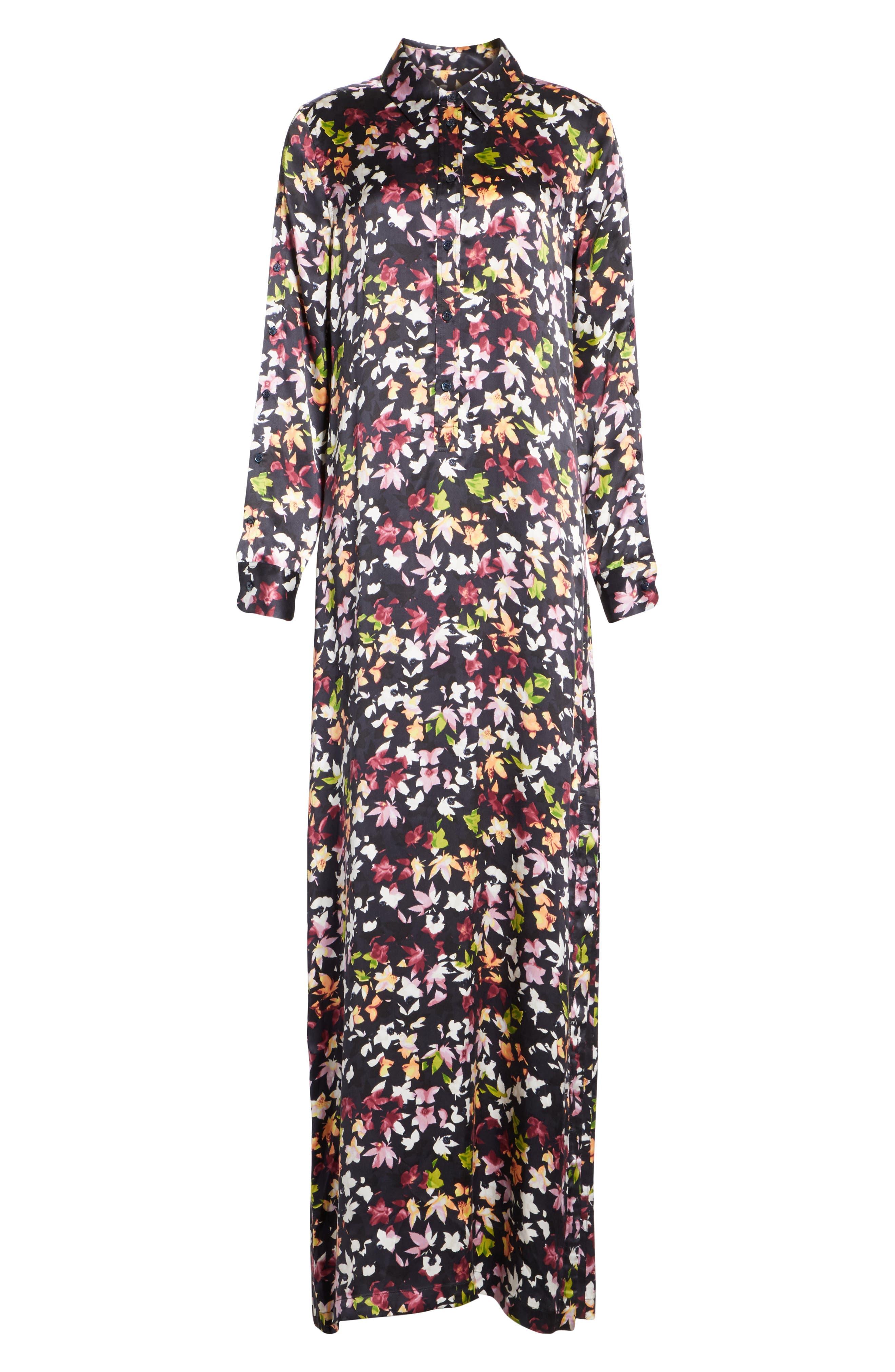 Simone Floral Silk Button Sleeve Maxi Dress,                             Alternate thumbnail 5, color,                             Eclipse Multi