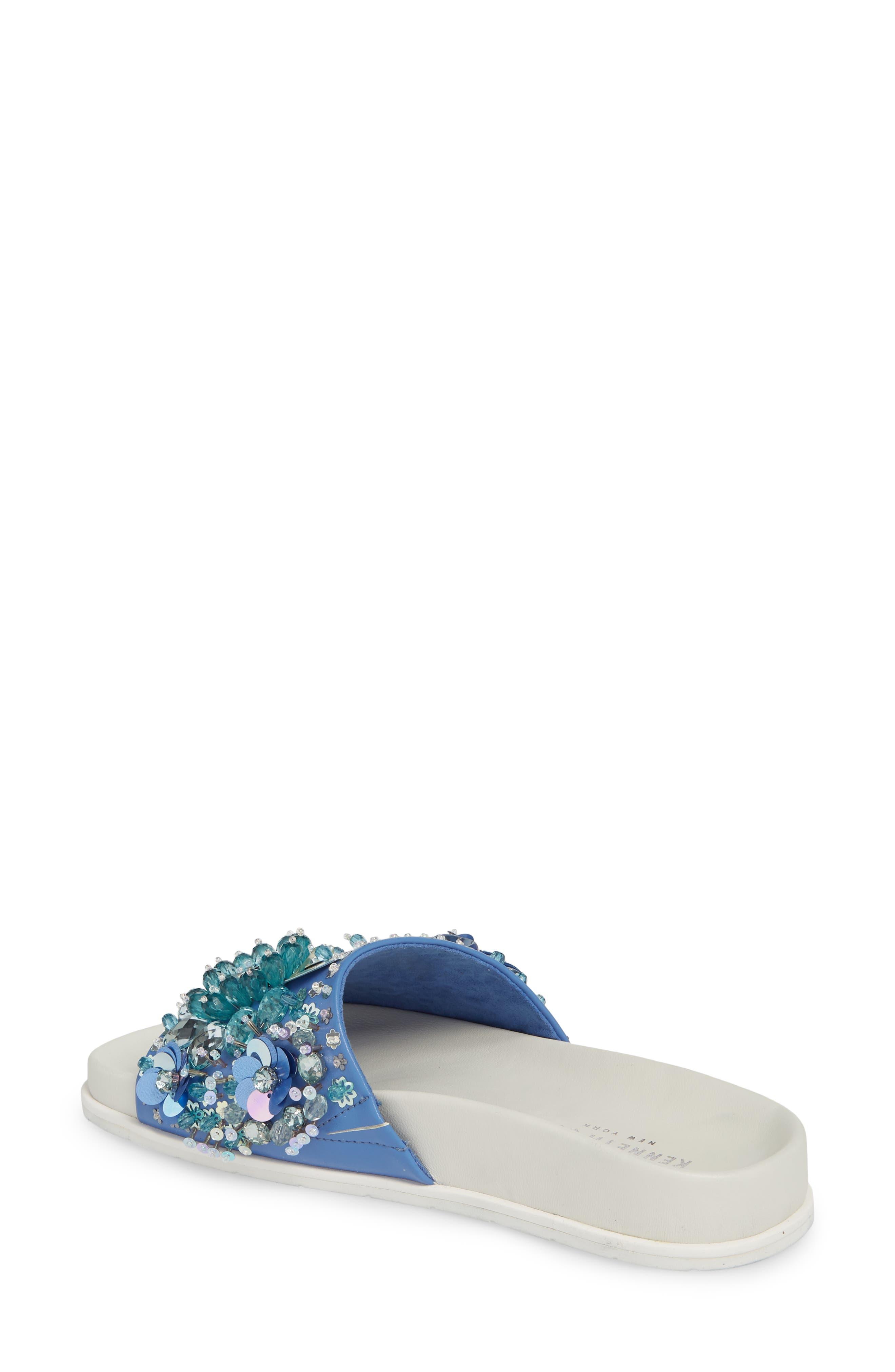 Xenia Sequin Embellished Sandal,                             Alternate thumbnail 2, color,                             Blue Multi Fabric