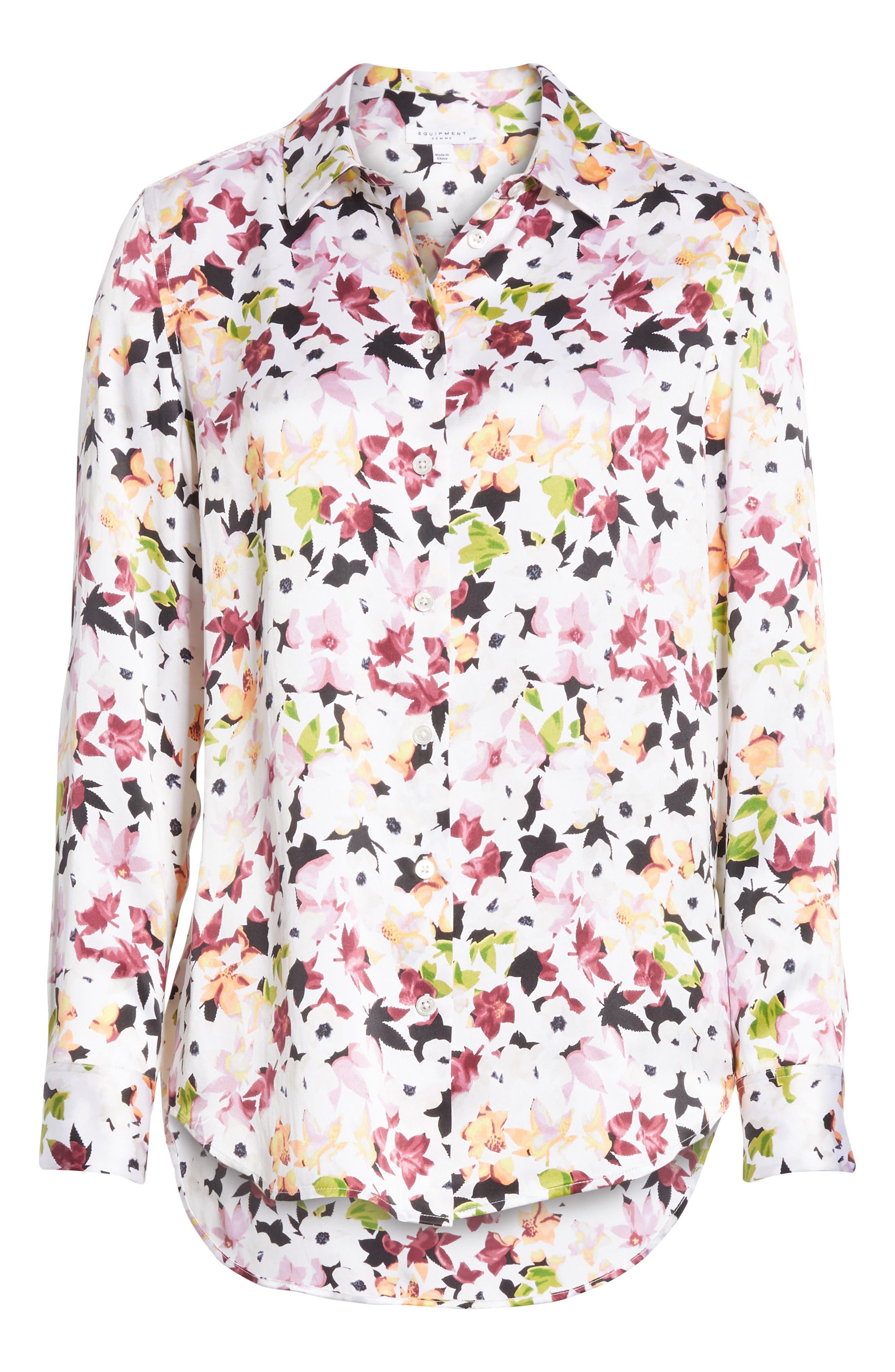 Essential Floral Silk Shirt,                             Alternate thumbnail 6, color,                             Bright White Multi