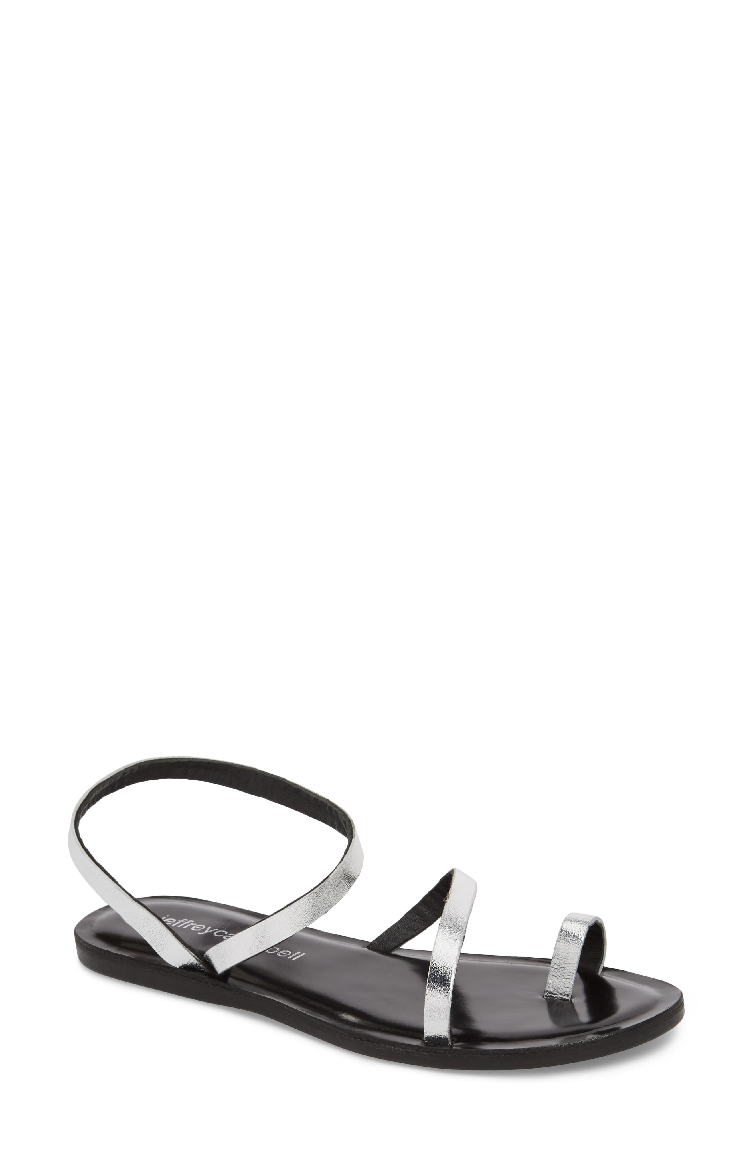 Santen Strappy Sandal,                         Main,                         color, Silver