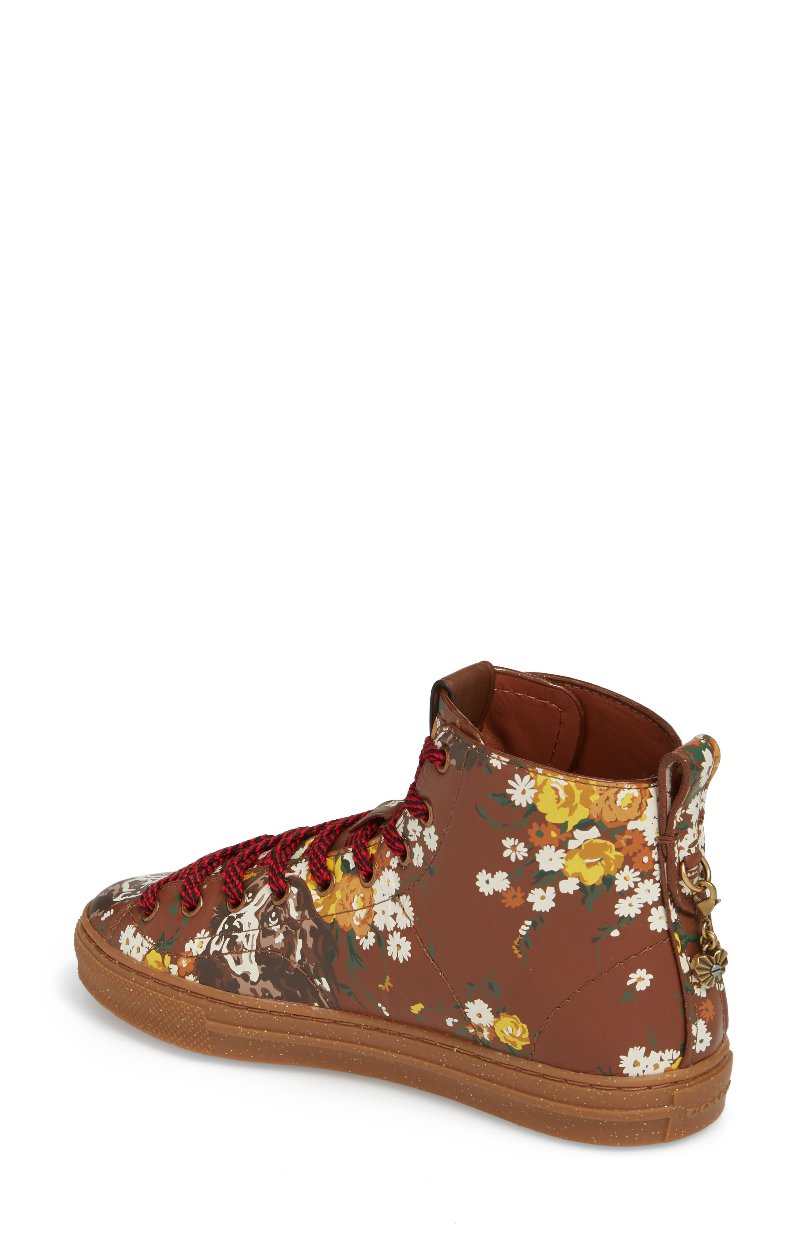 Flower Patch High Top Sneaker,                             Alternate thumbnail 2, color,                             Teak Leather