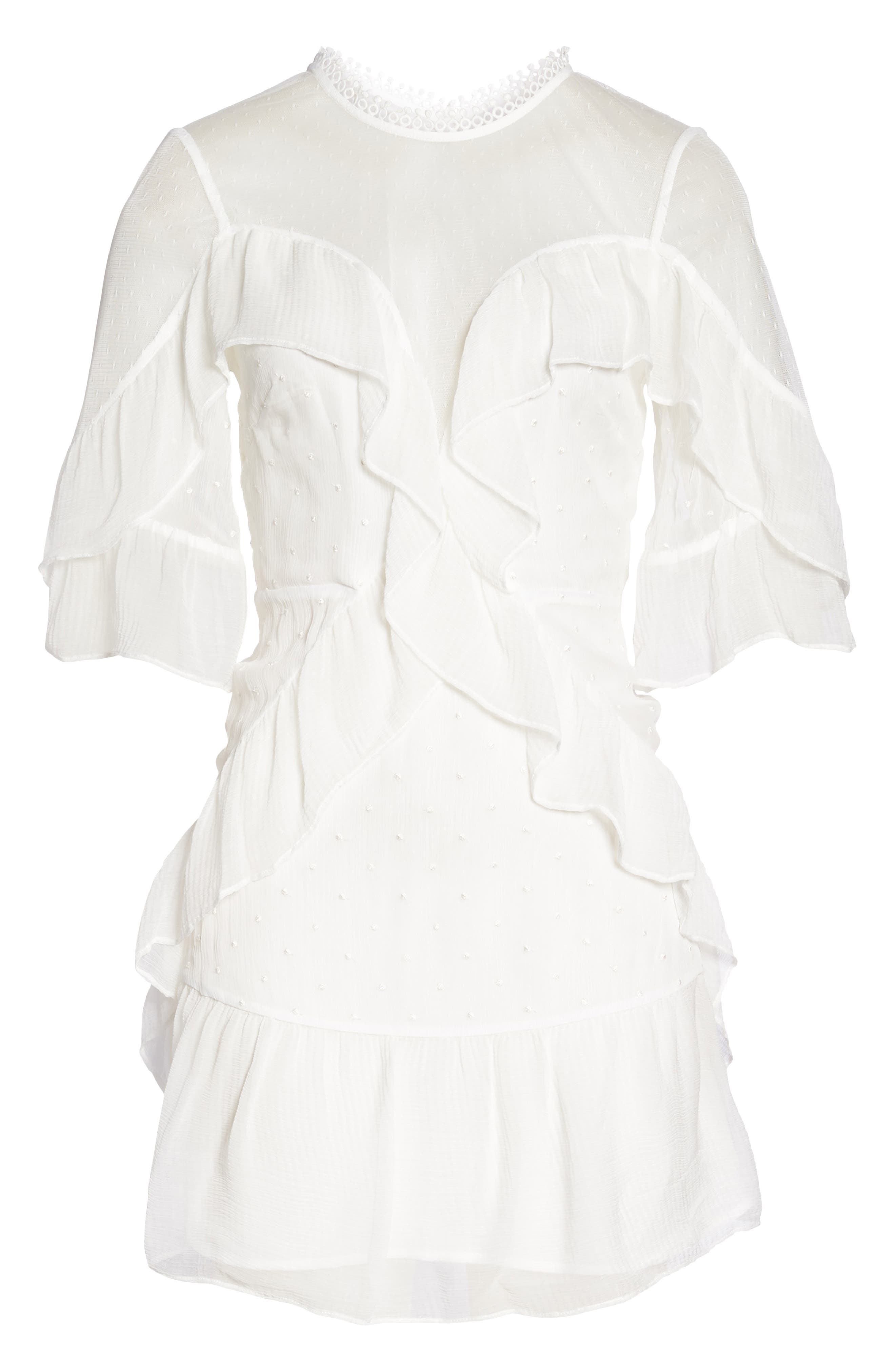 Enchantment Ruffle Chiffon Minidress,                             Alternate thumbnail 6, color,                             White