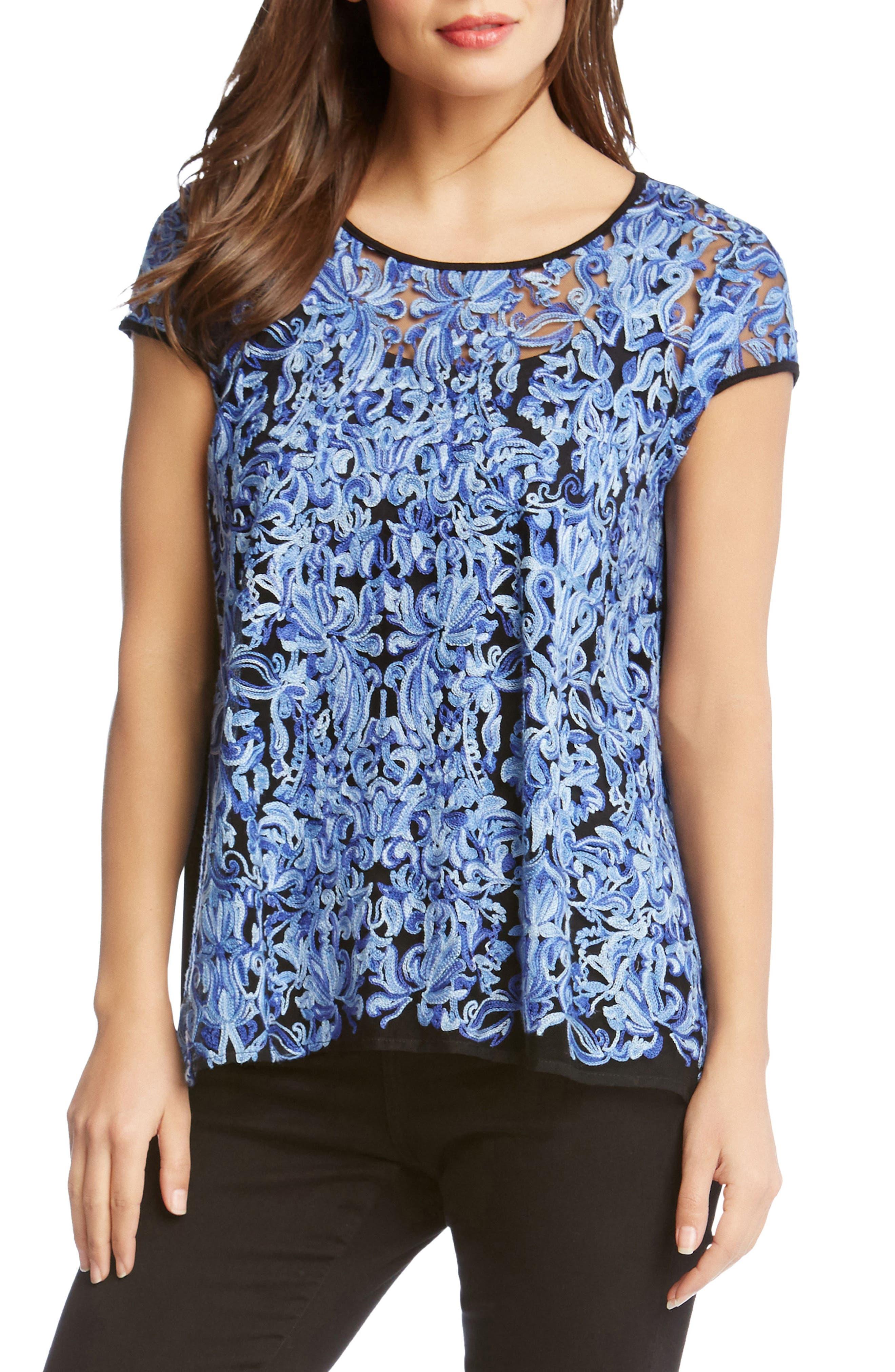 Embroidered Flare Hem Top,                         Main,                         color, Blue/ Black