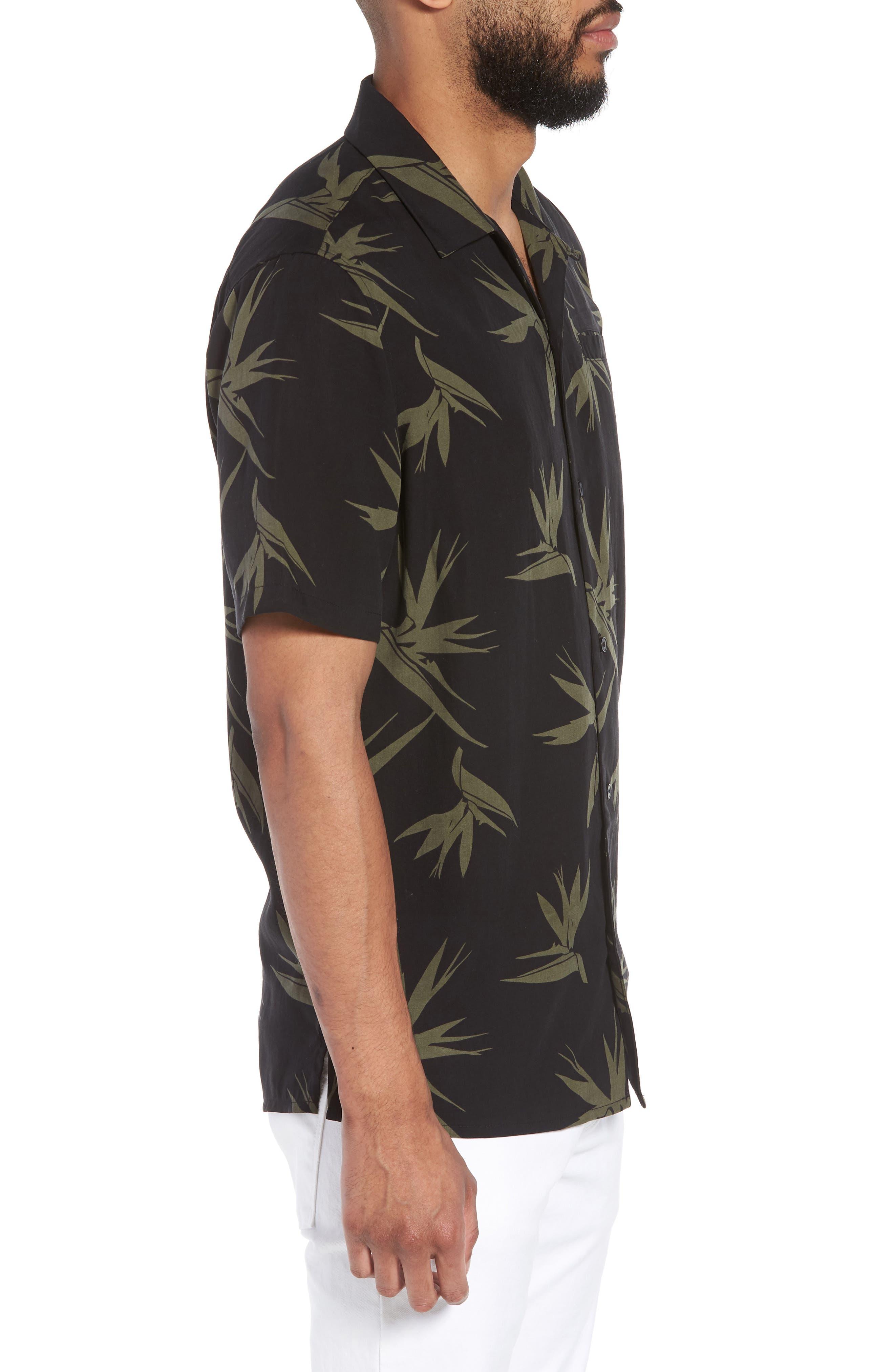 Hudson Regular Fit Print Short Sleeve Sport Shirt,                             Alternate thumbnail 4, color,                             Birds Of Paradise Black