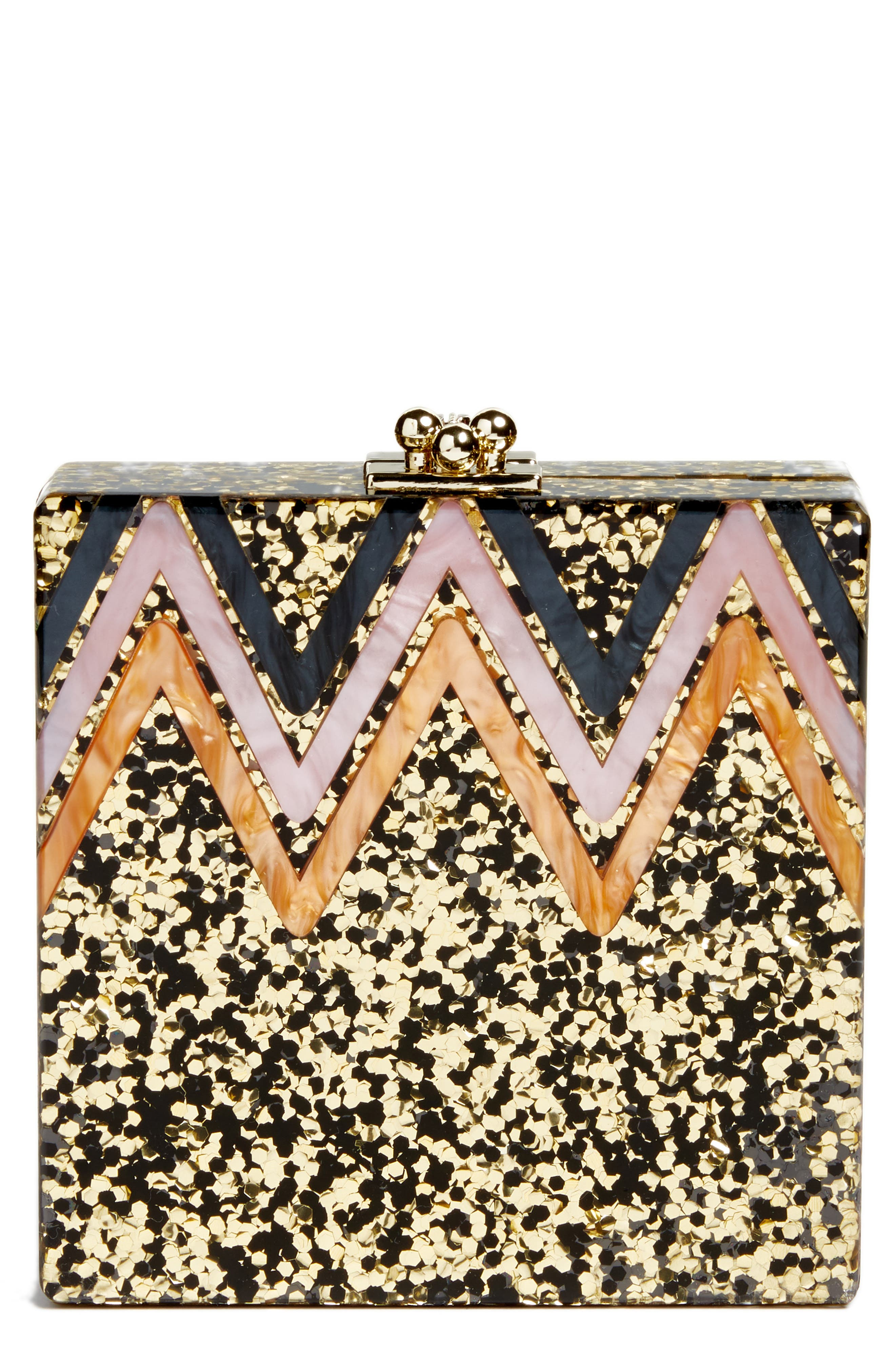 Alexa Sequin Box Clutch,                             Main thumbnail 1, color,                             Gold Multi