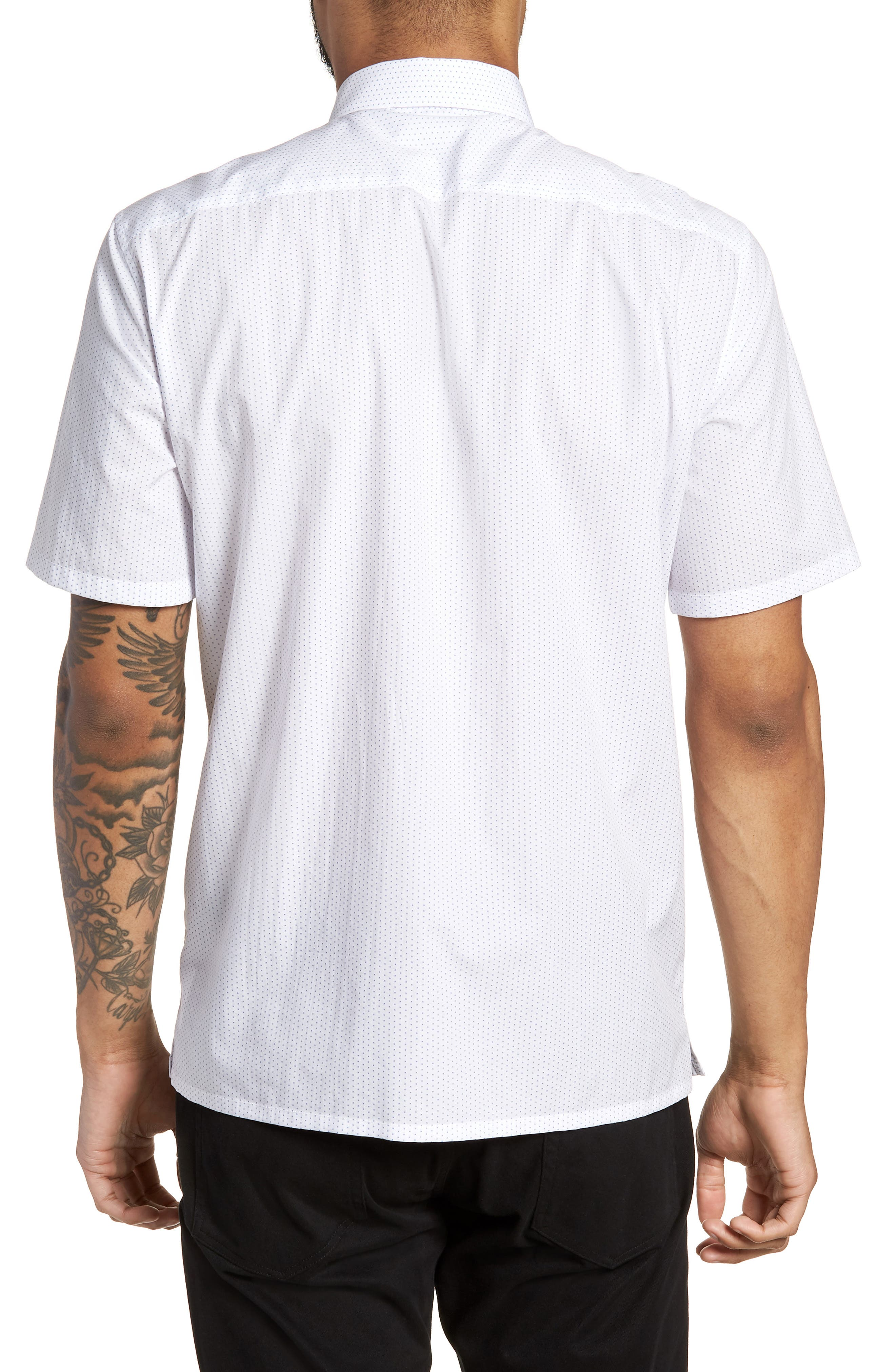 Murrary Trim Fit Dot Short Sleeve Sport Shirt,                             Alternate thumbnail 3, color,                             White