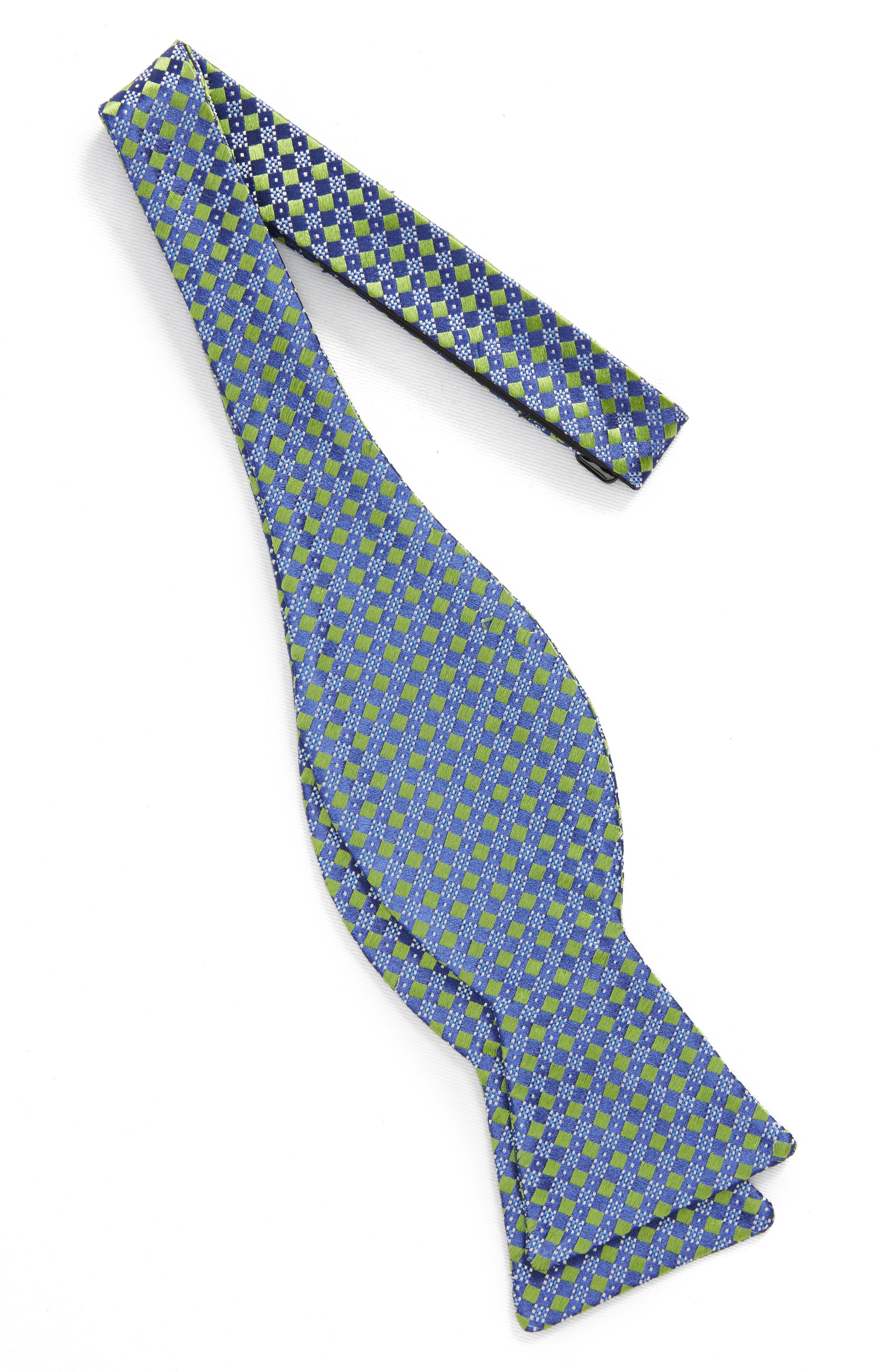 Geometric Silk Bow Tie,                             Alternate thumbnail 2, color,                             Green