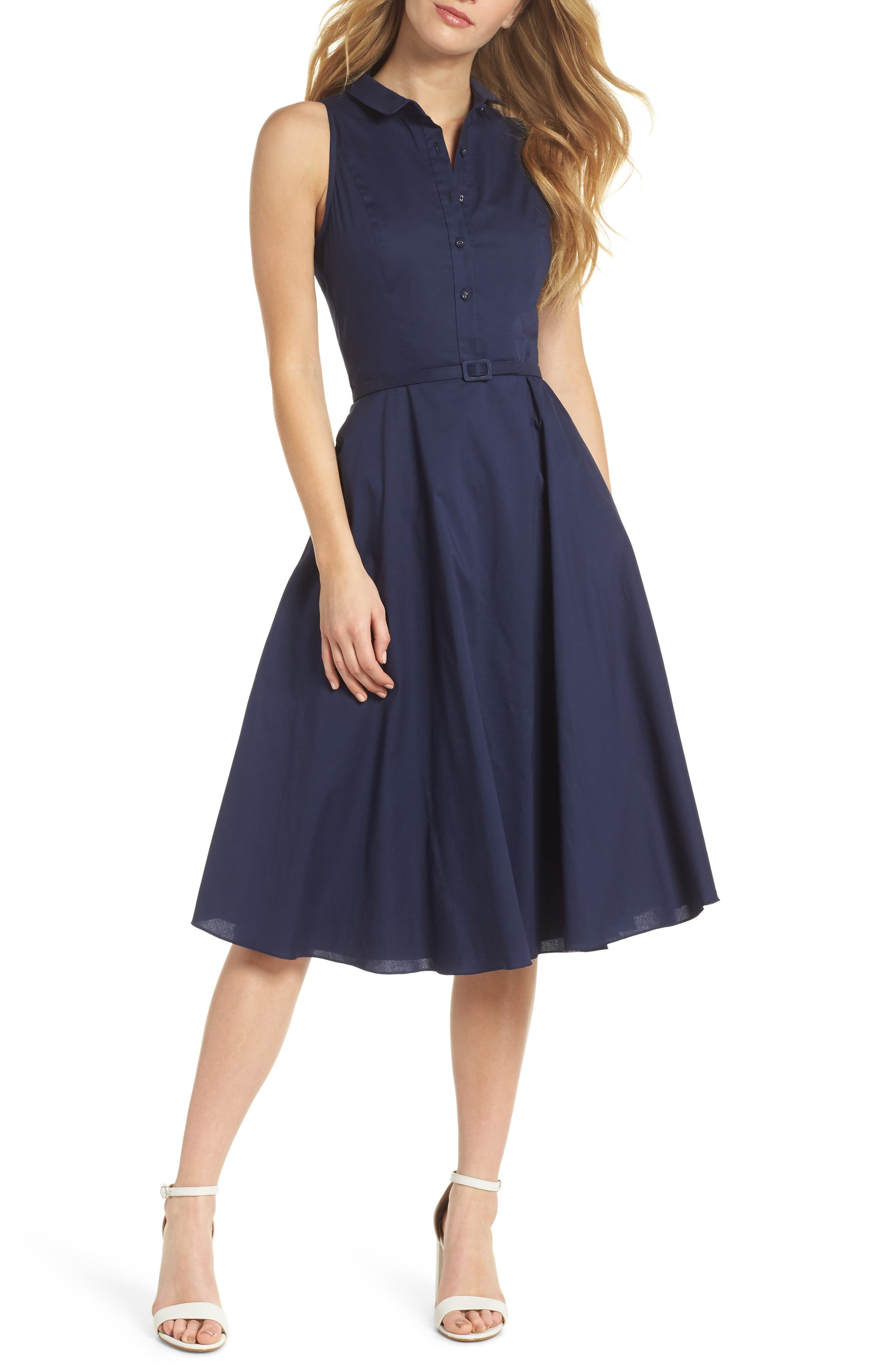 Rose Sleeveless Cotton Poplin Shirtdress,                         Main,                         color, Navy