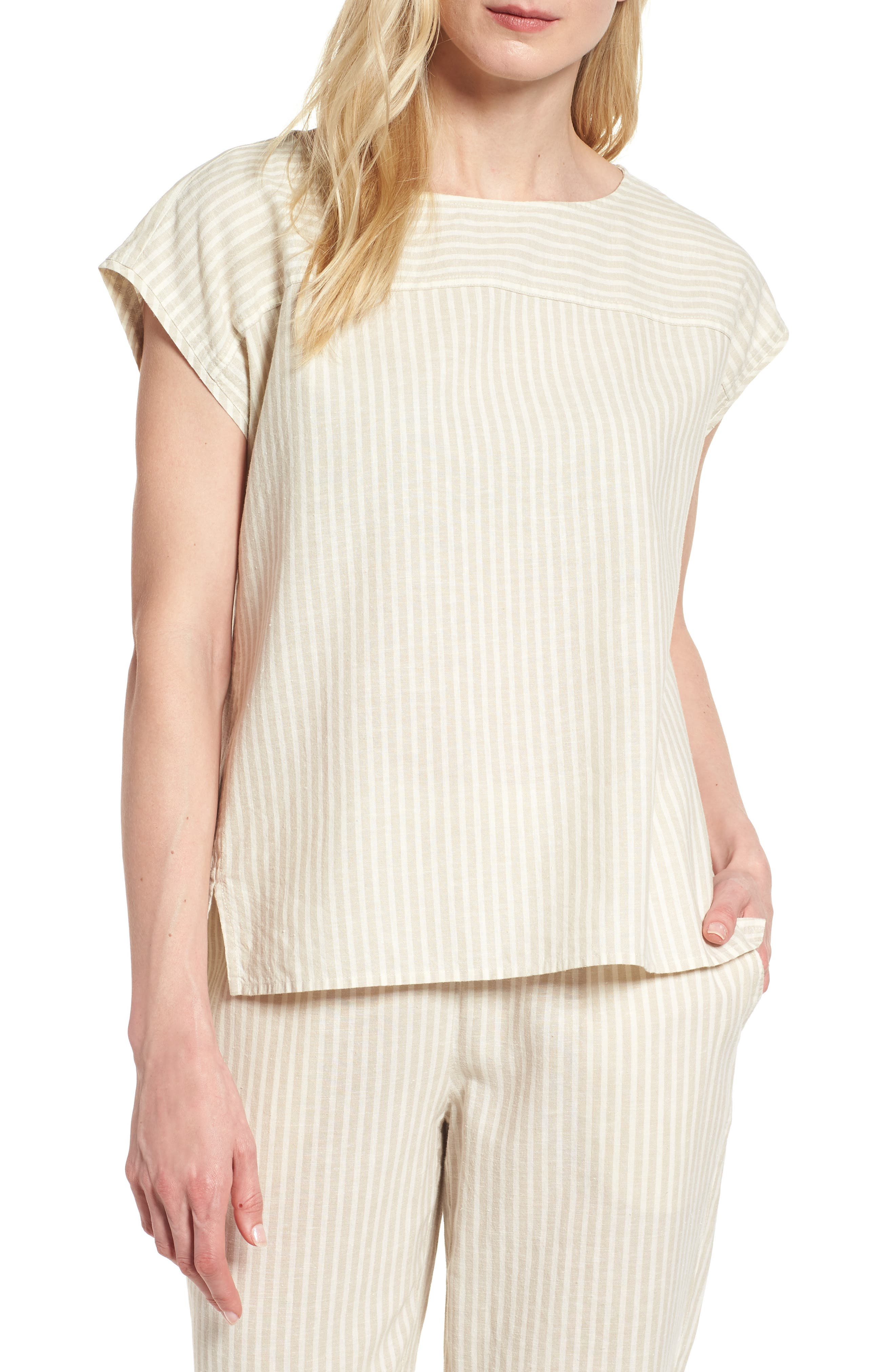 Stripe Hemp & Organic Cotton Swing Top,                             Main thumbnail 1, color,                             Natural