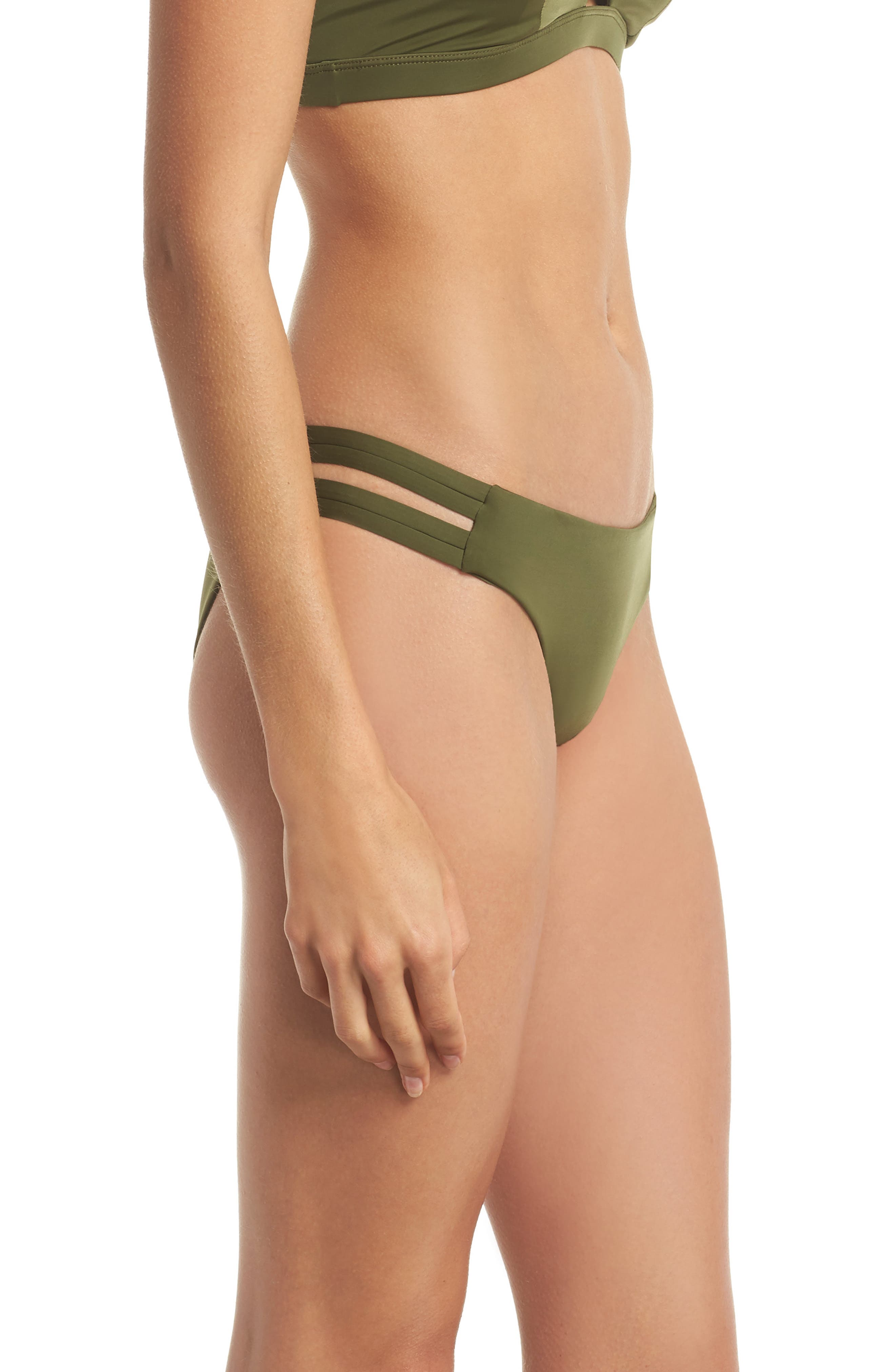 Quick Dry Max Surf Bikini Bottoms,                             Alternate thumbnail 3, color,                             Olive Canvas