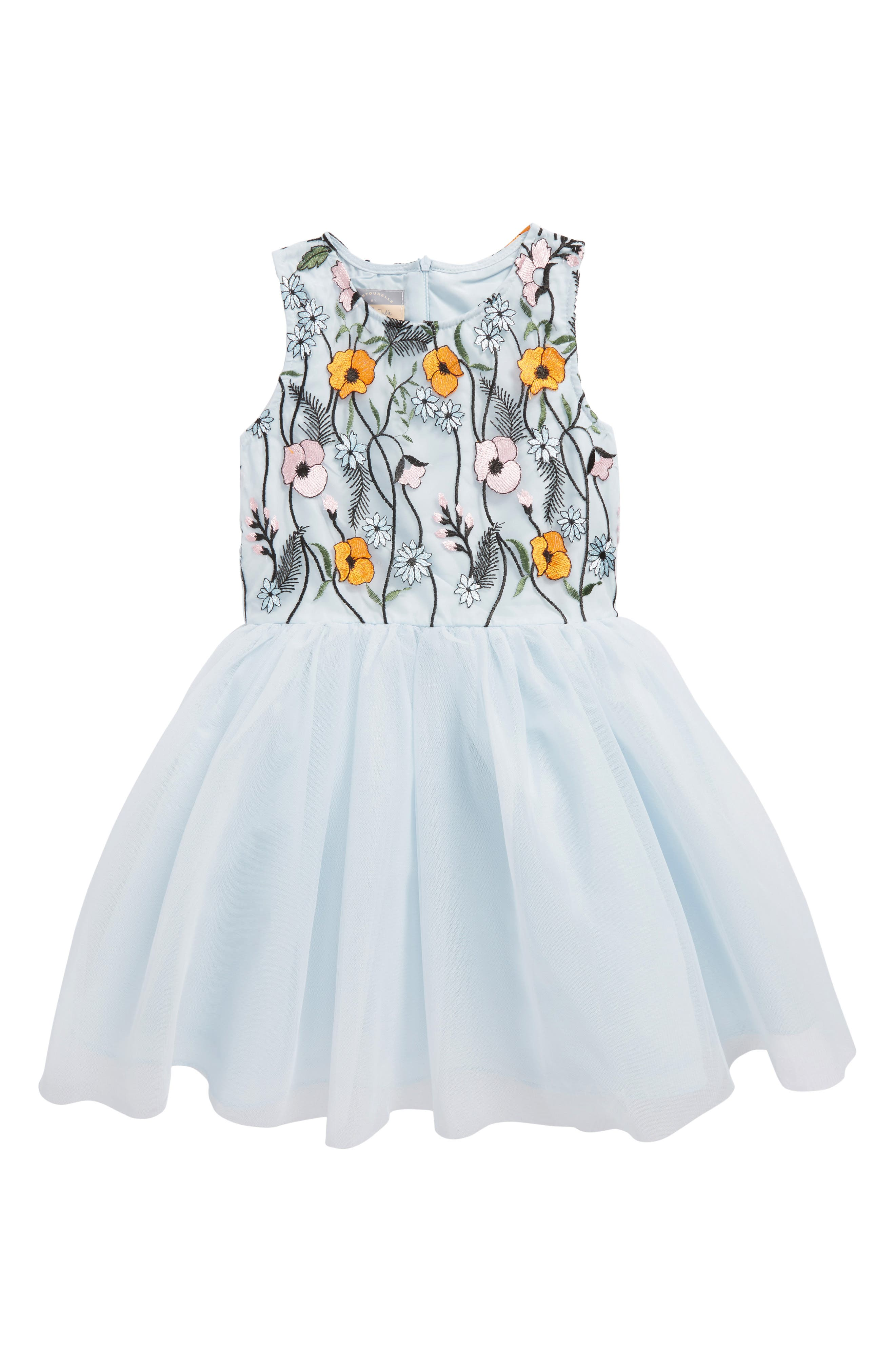 Floral Embroidered Tulle Dress,                         Main,                         color, Multi