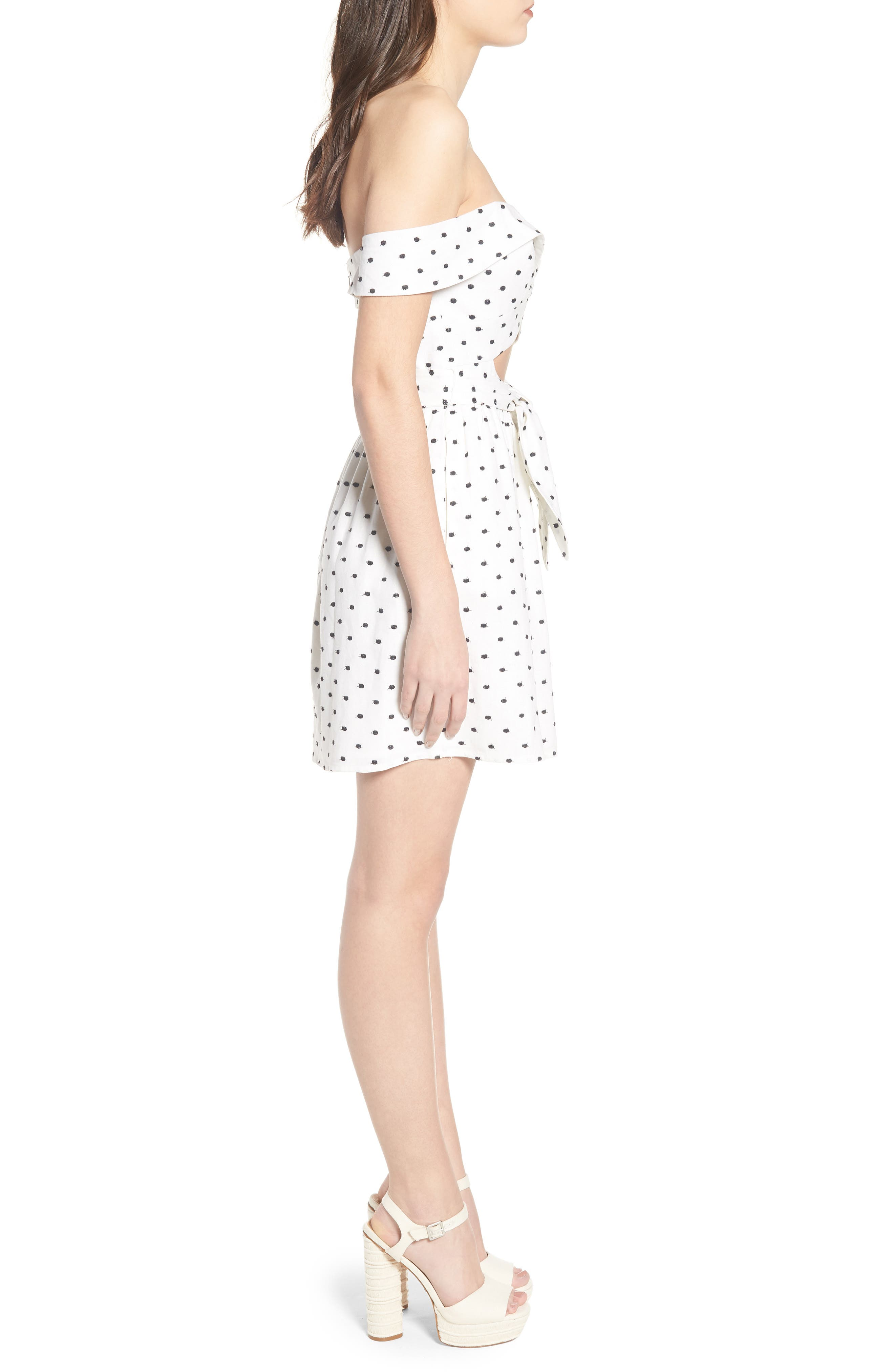 Capri Knot Cutout Minidress,                             Alternate thumbnail 4, color,                             Ivory Polka Dot