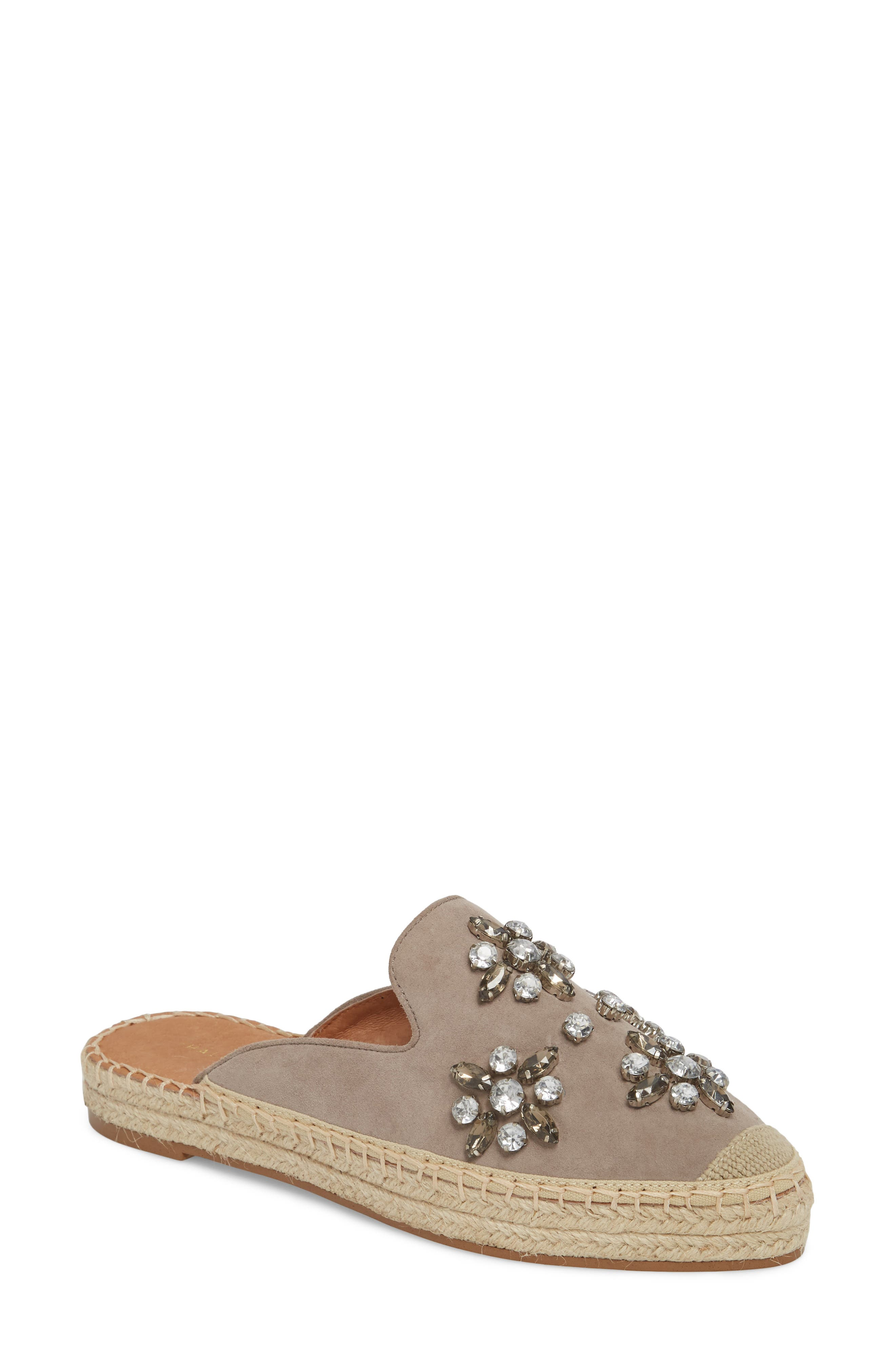 Blythe Embellished Espadrille Mule,                             Main thumbnail 1, color,                             Stone Suede