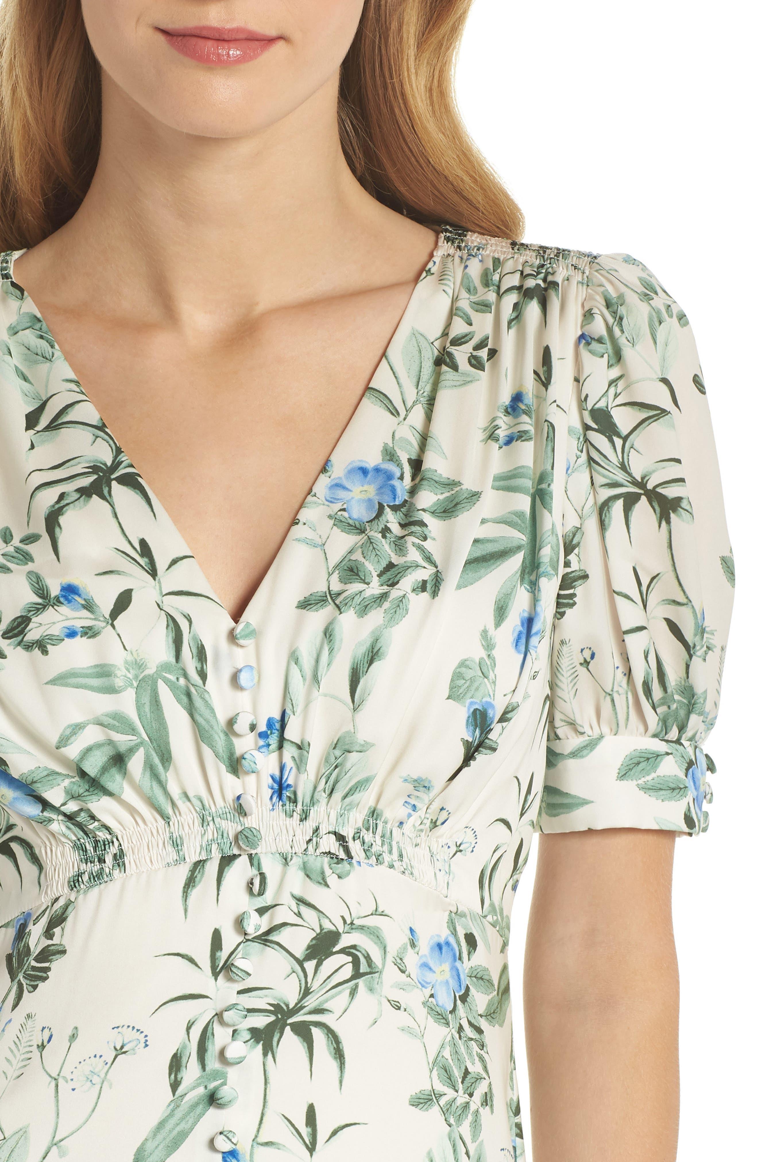 Lauren Botanical Garden Print Midi Dress,                             Alternate thumbnail 6, color,                             Bone/ Blue