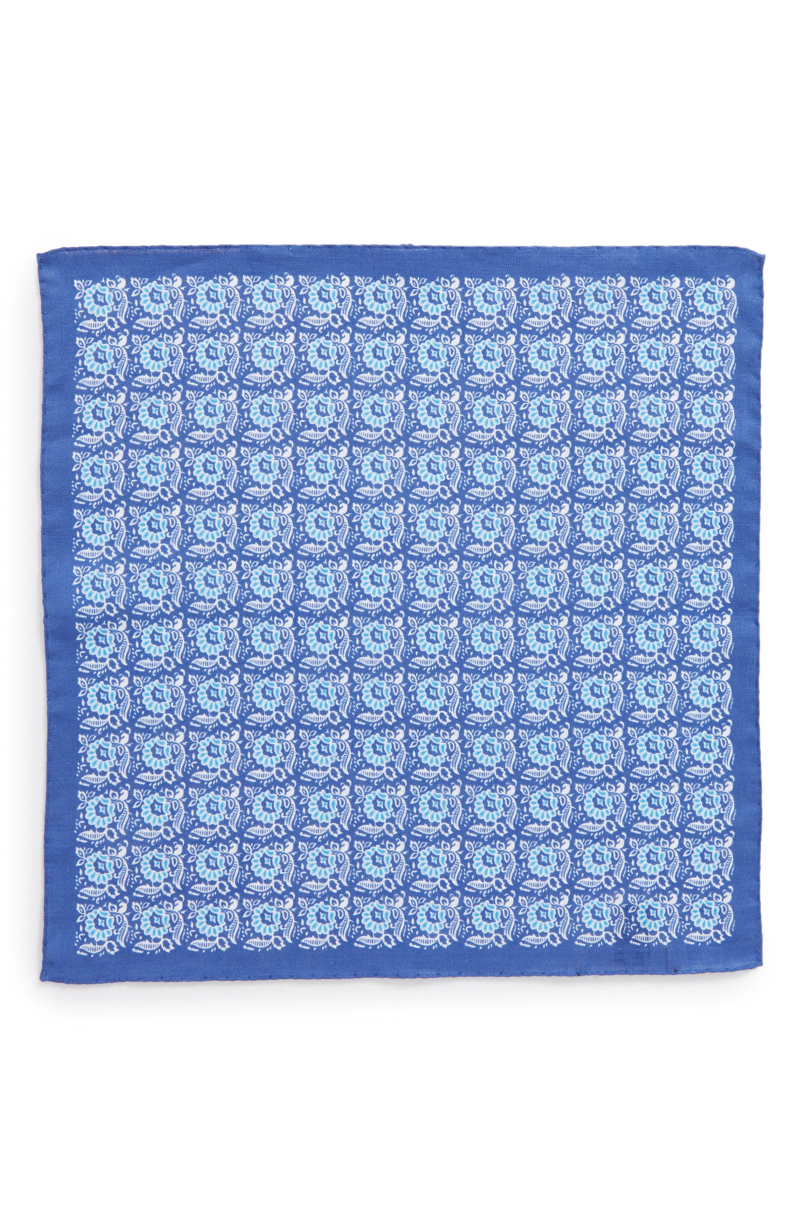 Linen Pocket Square,                             Alternate thumbnail 3, color,                             Navy Flower