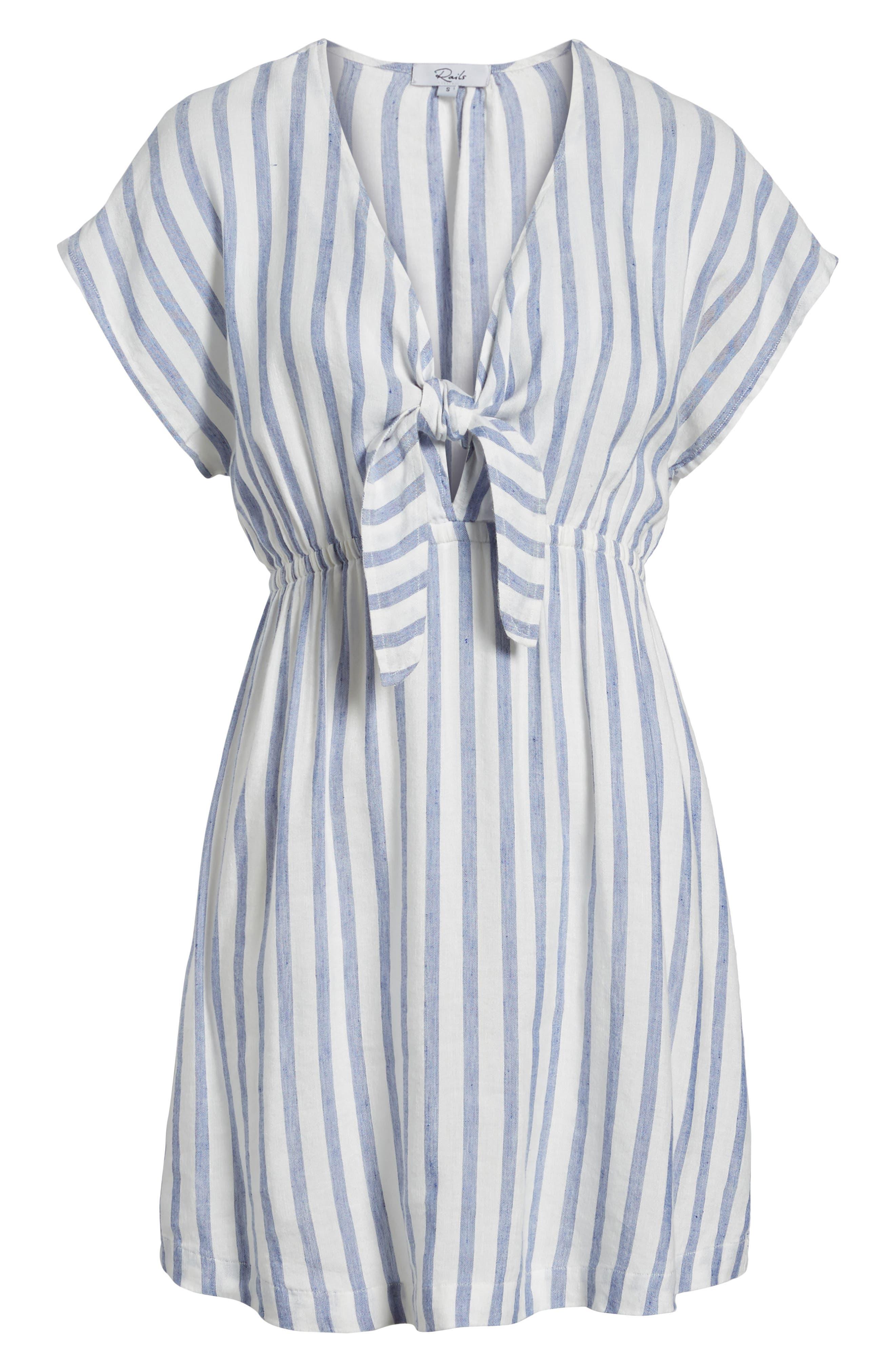 Stripe Tie Front Dress,                             Alternate thumbnail 7, color,                             Grenadines Stripe