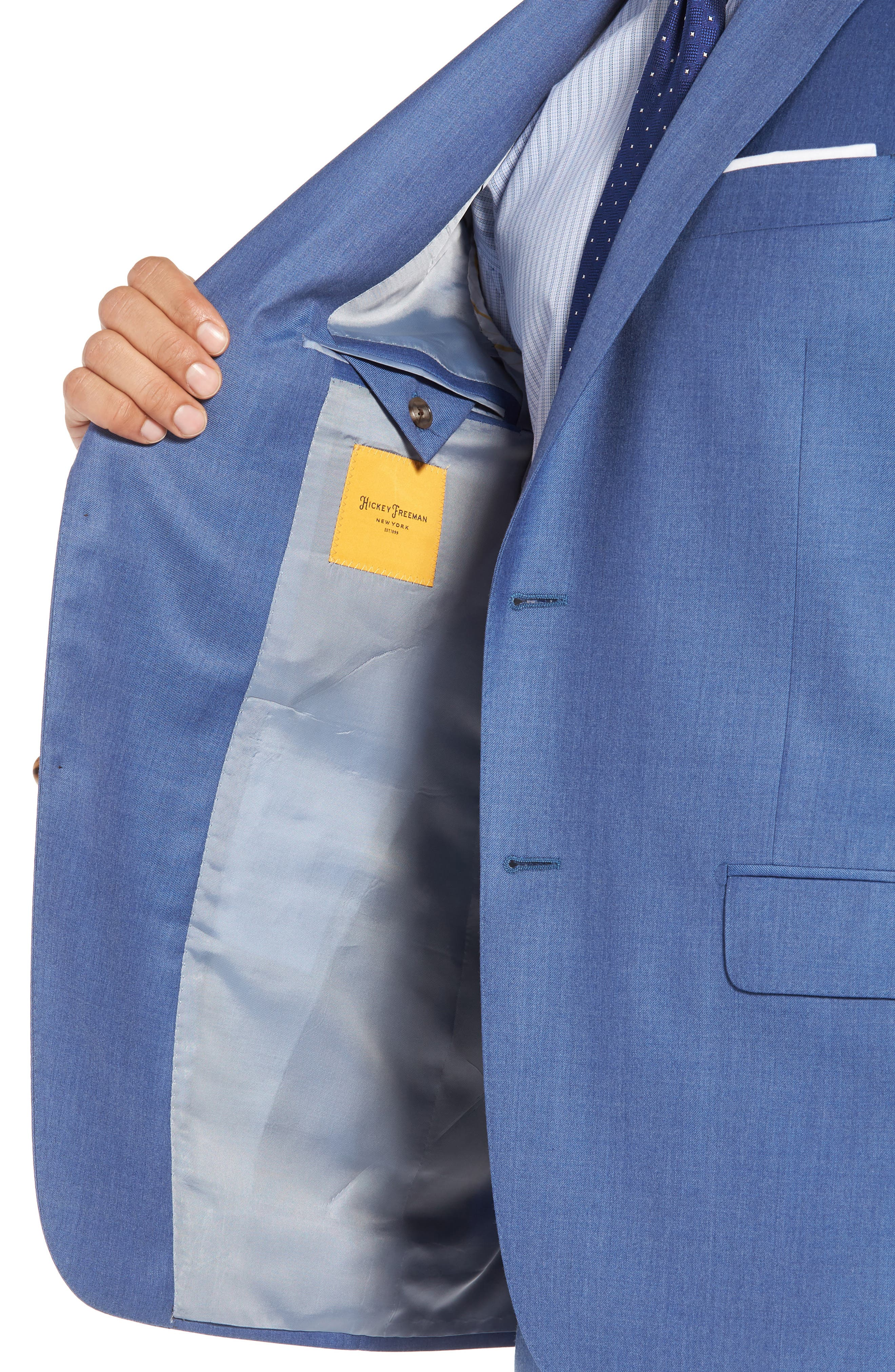Classic B Fit Solid Wool Suit,                             Alternate thumbnail 4, color,                             Light Blue Solid