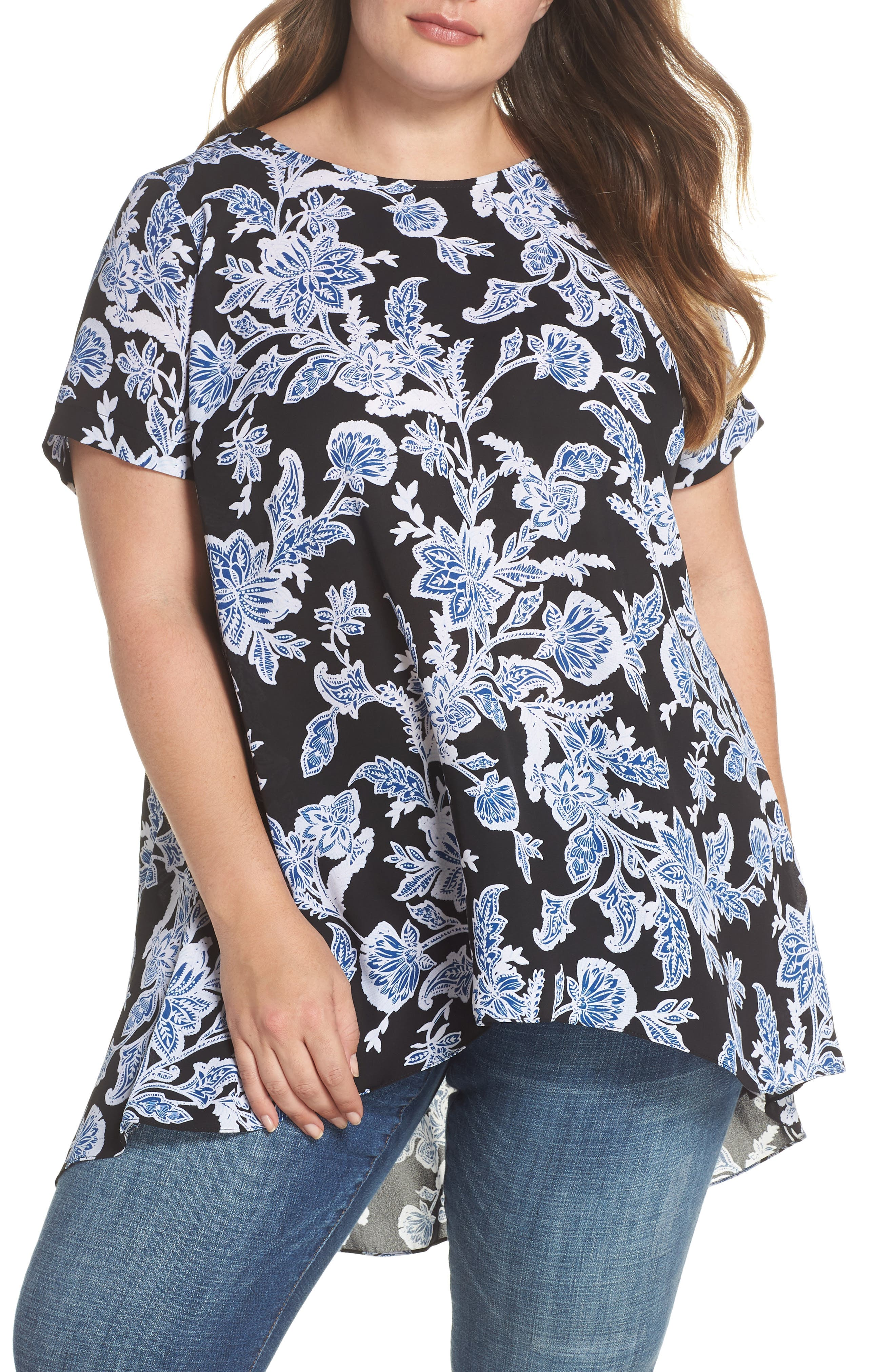 Vince Camuto Floral Pleat Back High/Low Top (Plus Size)