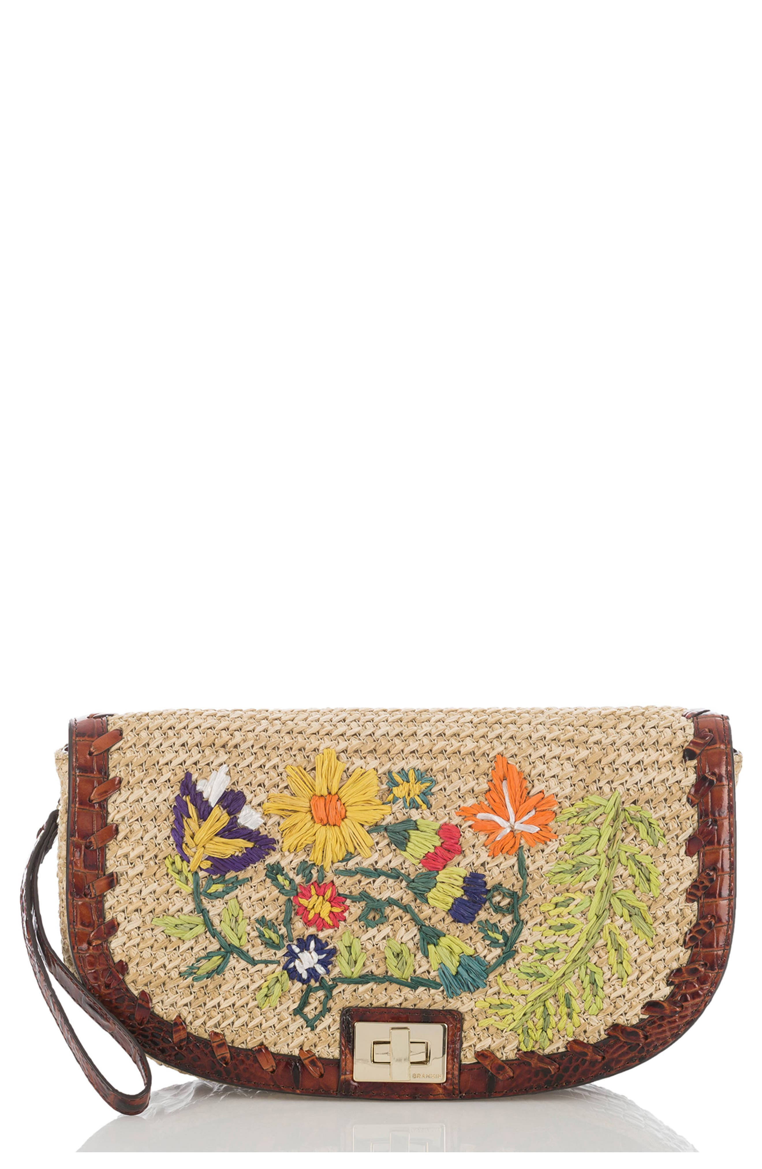 Sandrine Straw Clutch,                         Main,                         color, Natural