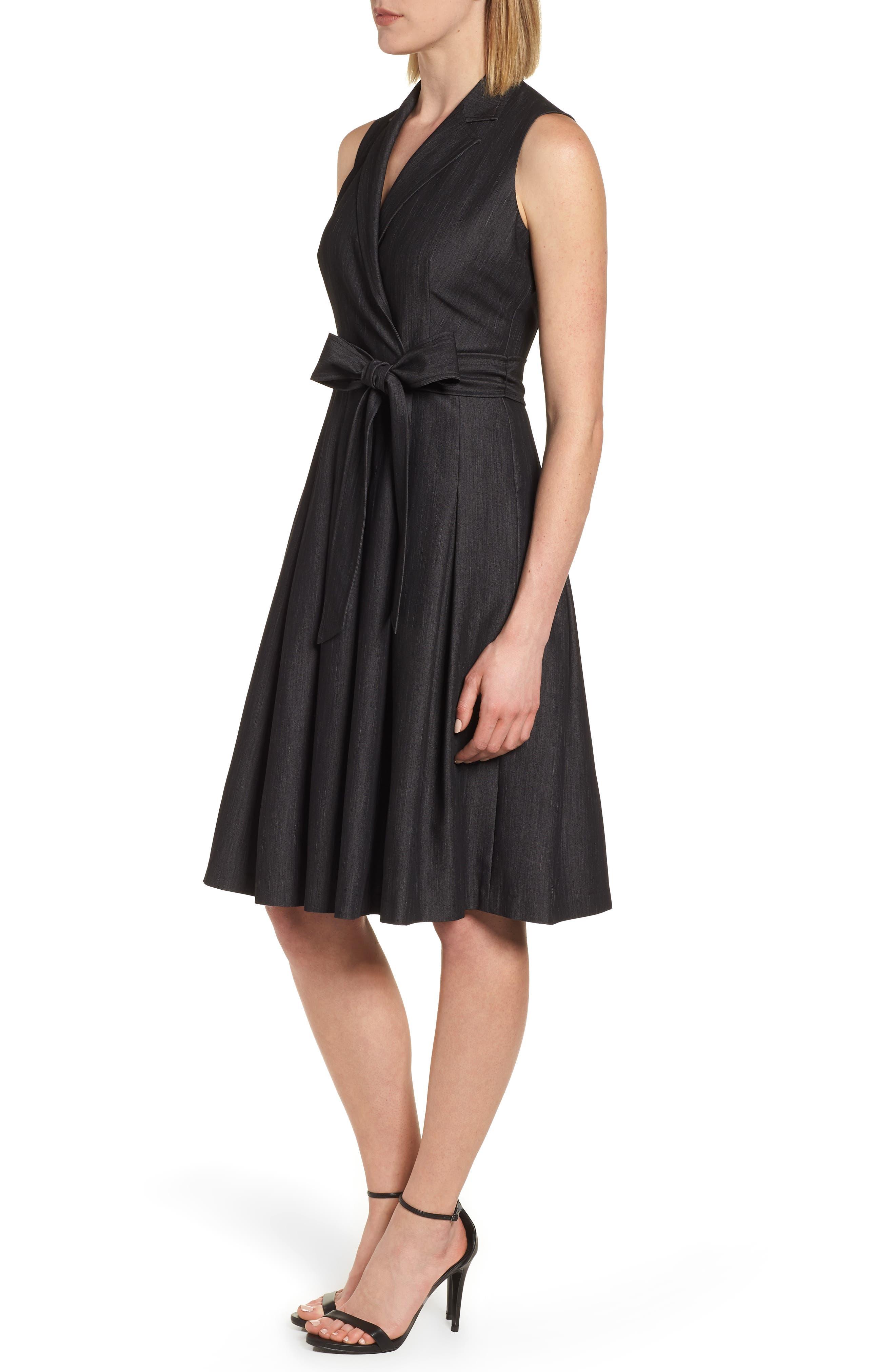 Notch Collar Stretch Denim Dress,                             Alternate thumbnail 3, color,                             Black