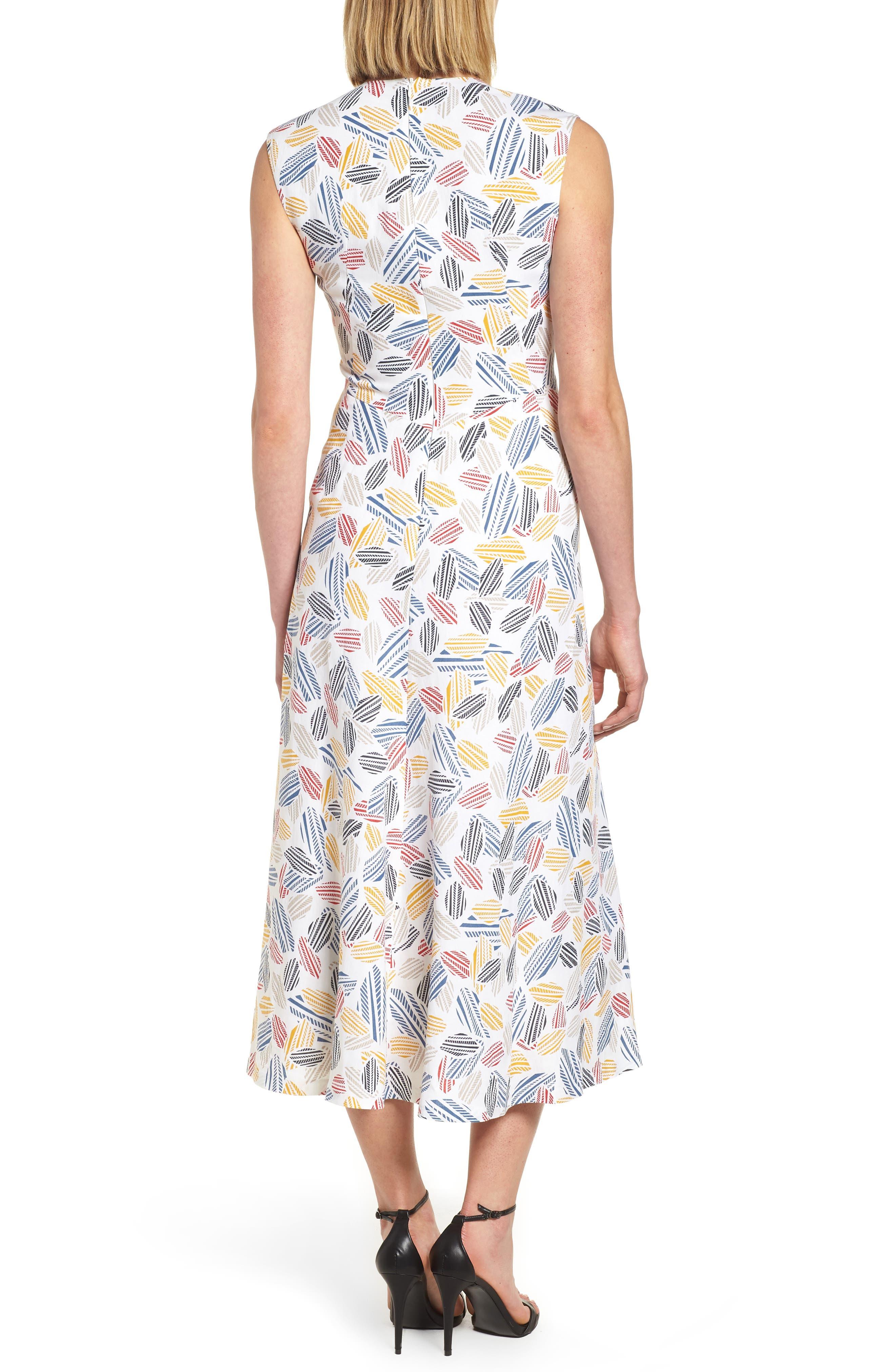 Print Midi Dress,                             Alternate thumbnail 2, color,                             Optic White/ Tomato Combo