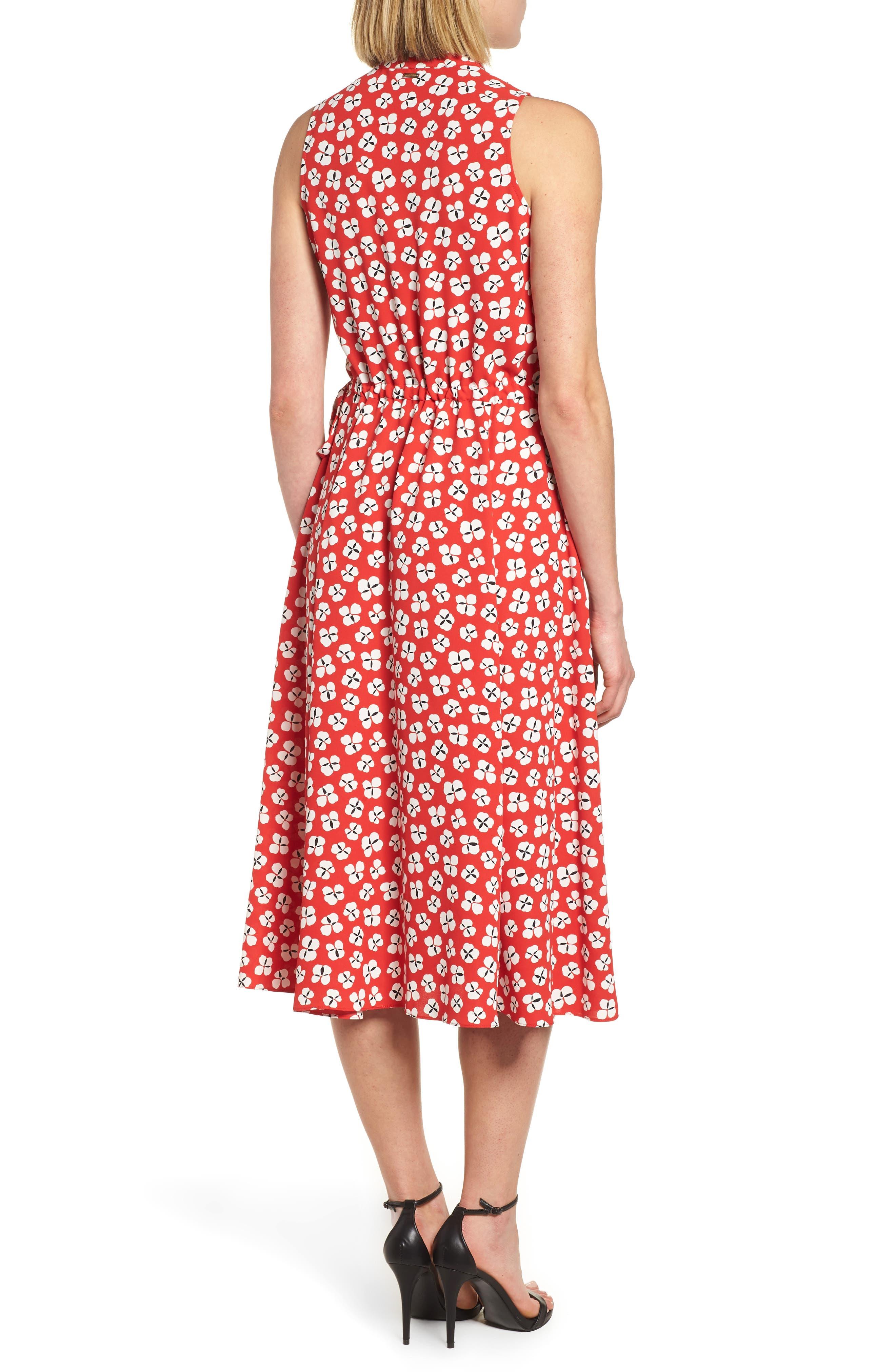 Zuma Petal Drawstring Midi Dress,                             Alternate thumbnail 2, color,                             Tomato/ Parchment Combo