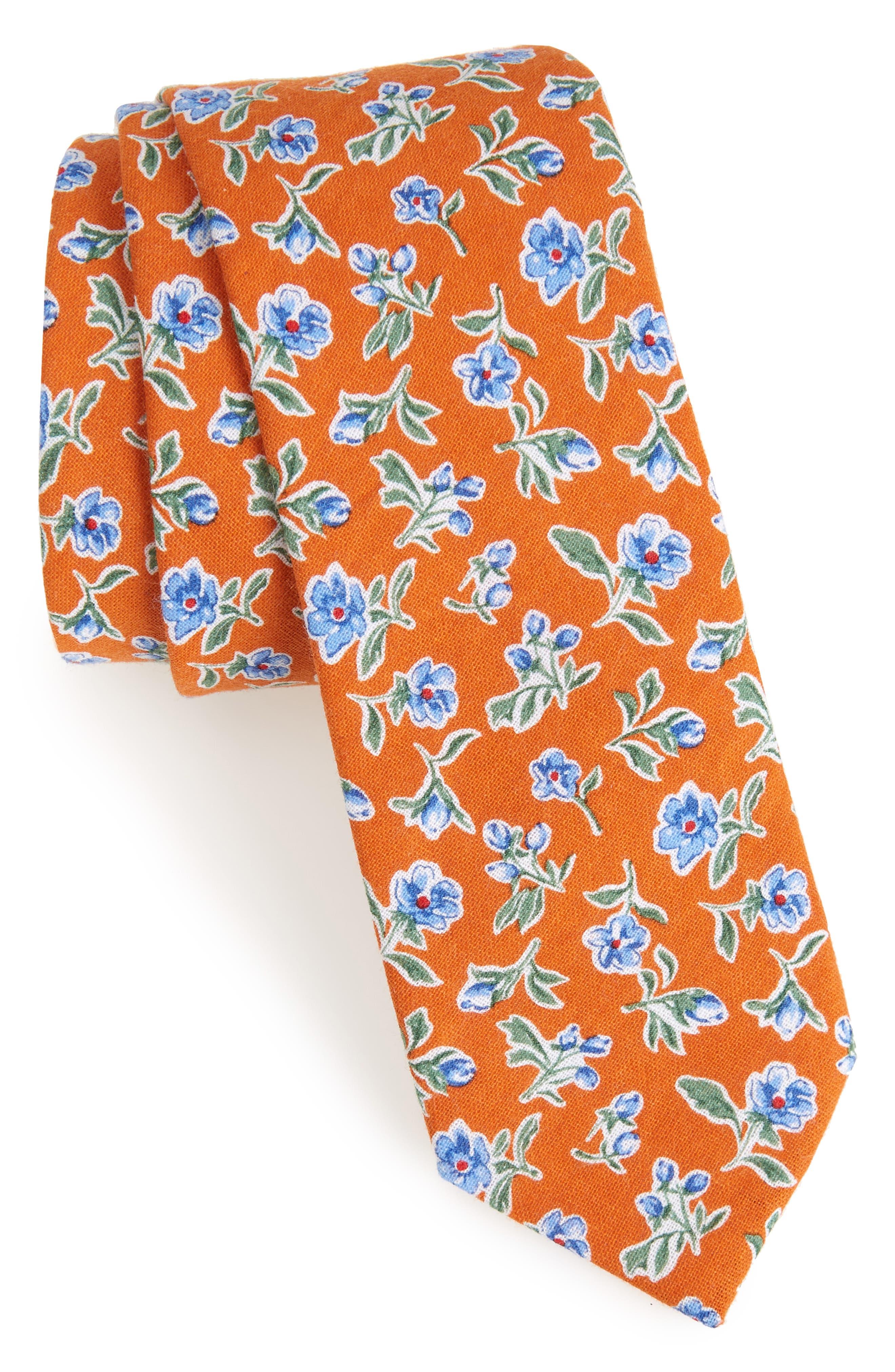 Main Image - Nordstrom Men's Shop Kendals Floral Cotton Skinny Tie