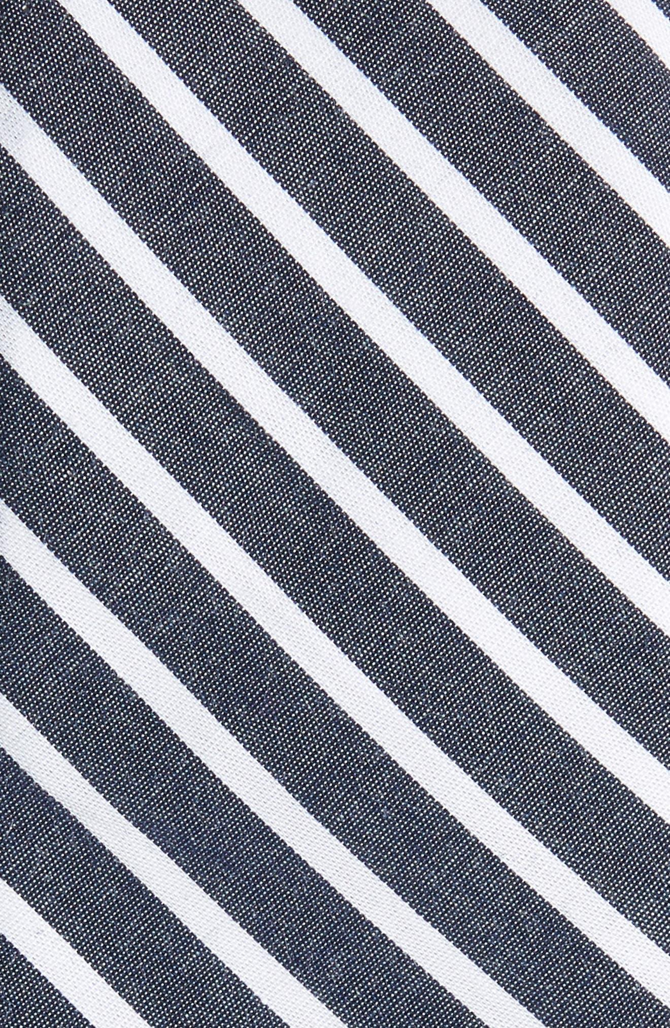 Holborn Stripe Cotton Skinny Tie,                             Alternate thumbnail 2, color,                             Navy