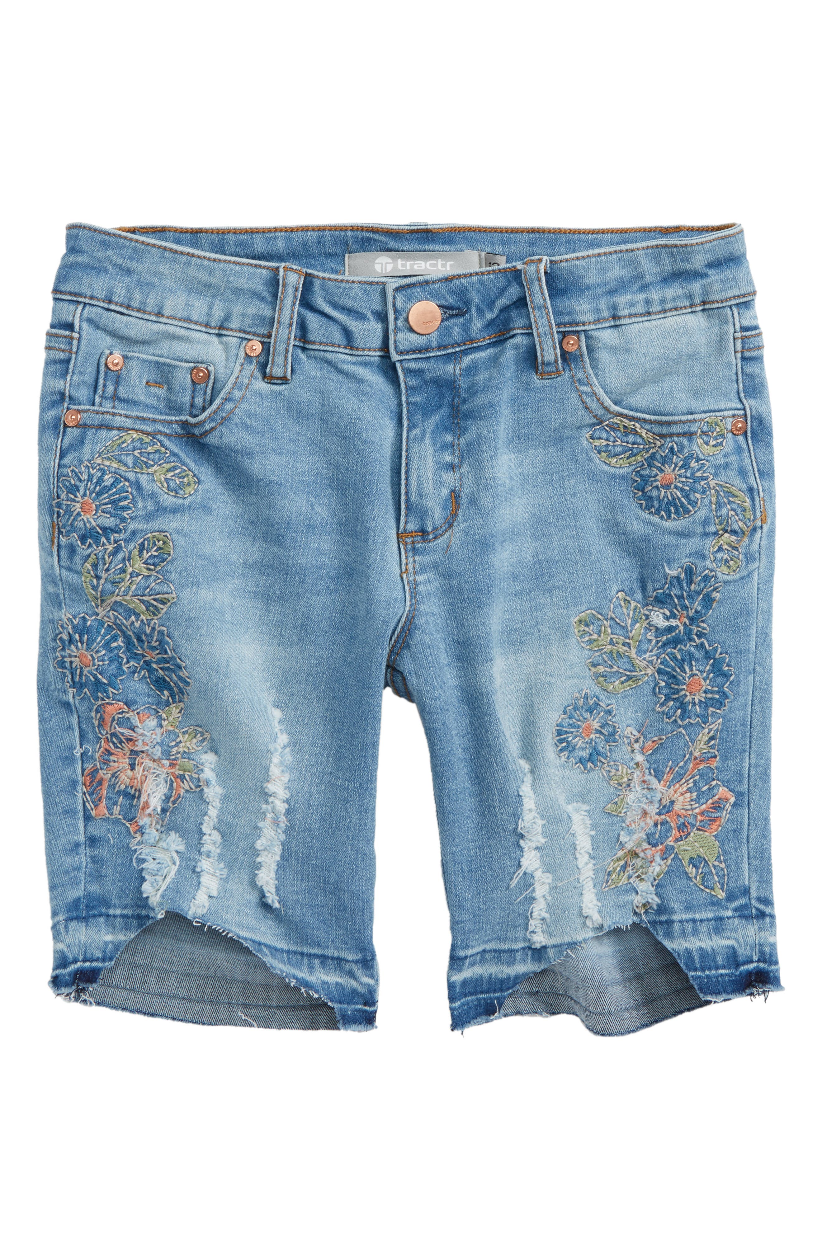 Tractr Embroidered Denim Bermuda Shorts (Big Girls)