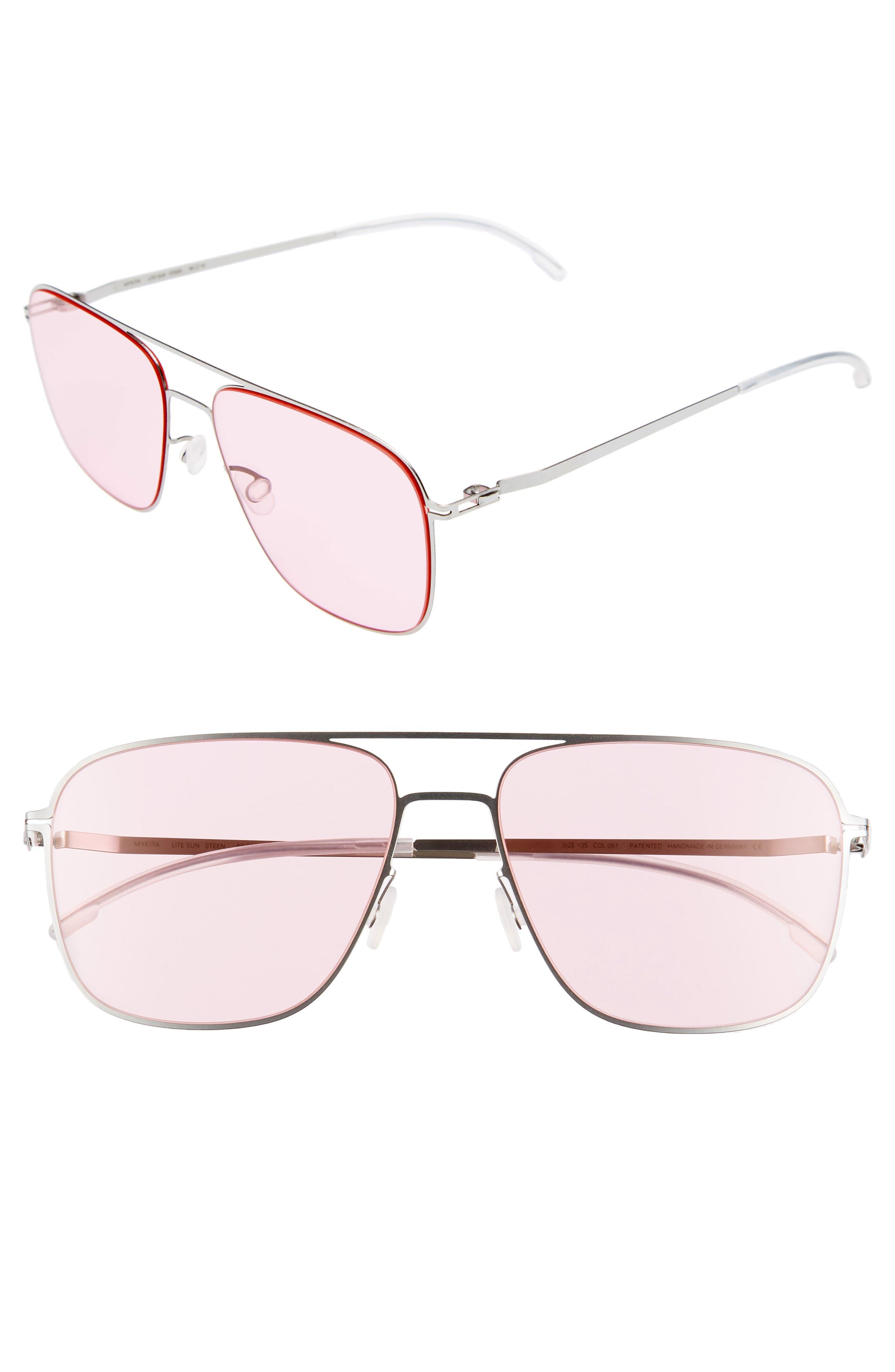 Steen 56mm Aviator Sunglasses,                             Main thumbnail 1, color,                             Shiny Silver