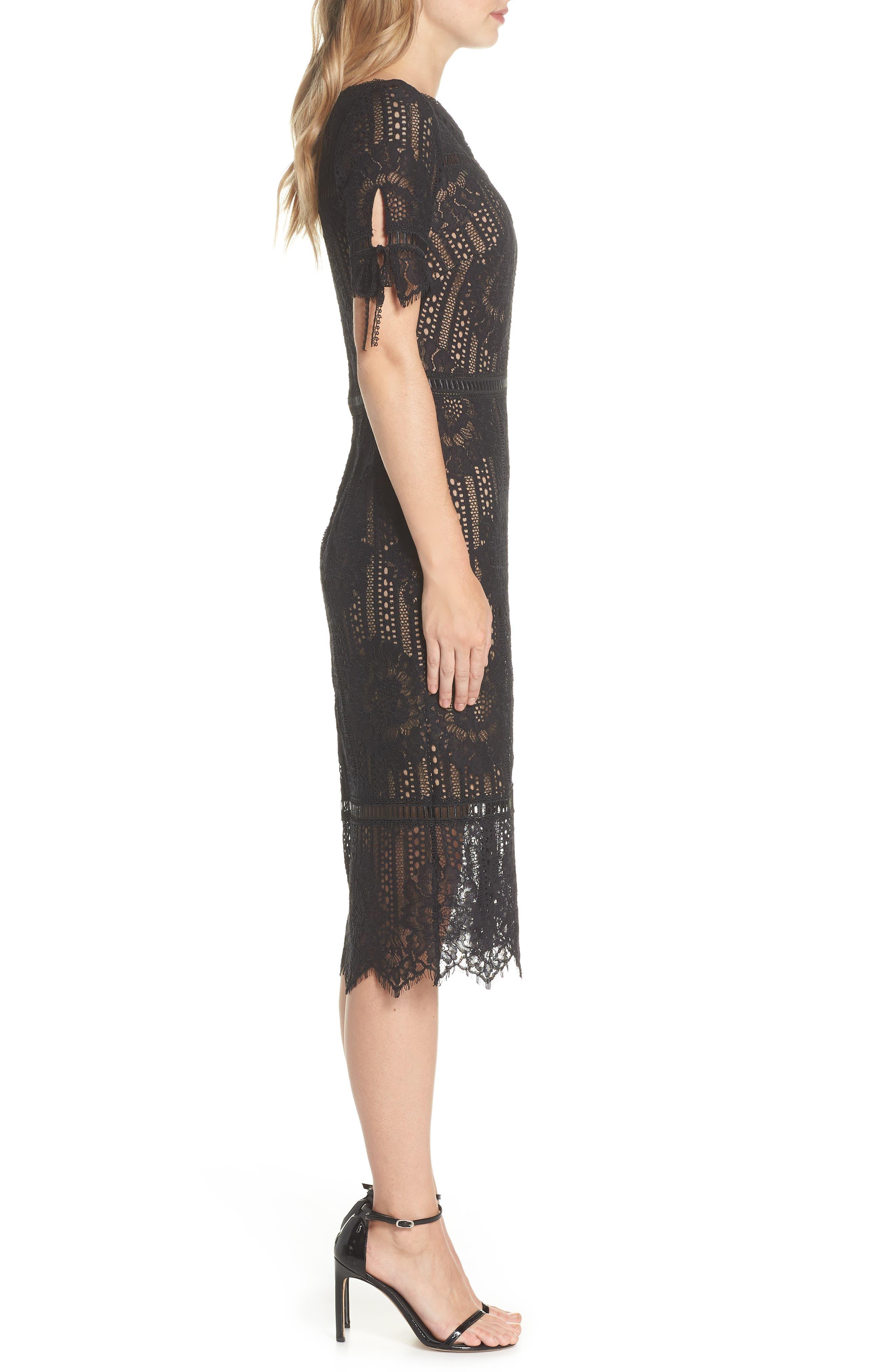 Tie Sleeve Lace Dress,                             Alternate thumbnail 3, color,                             Black/ Nude