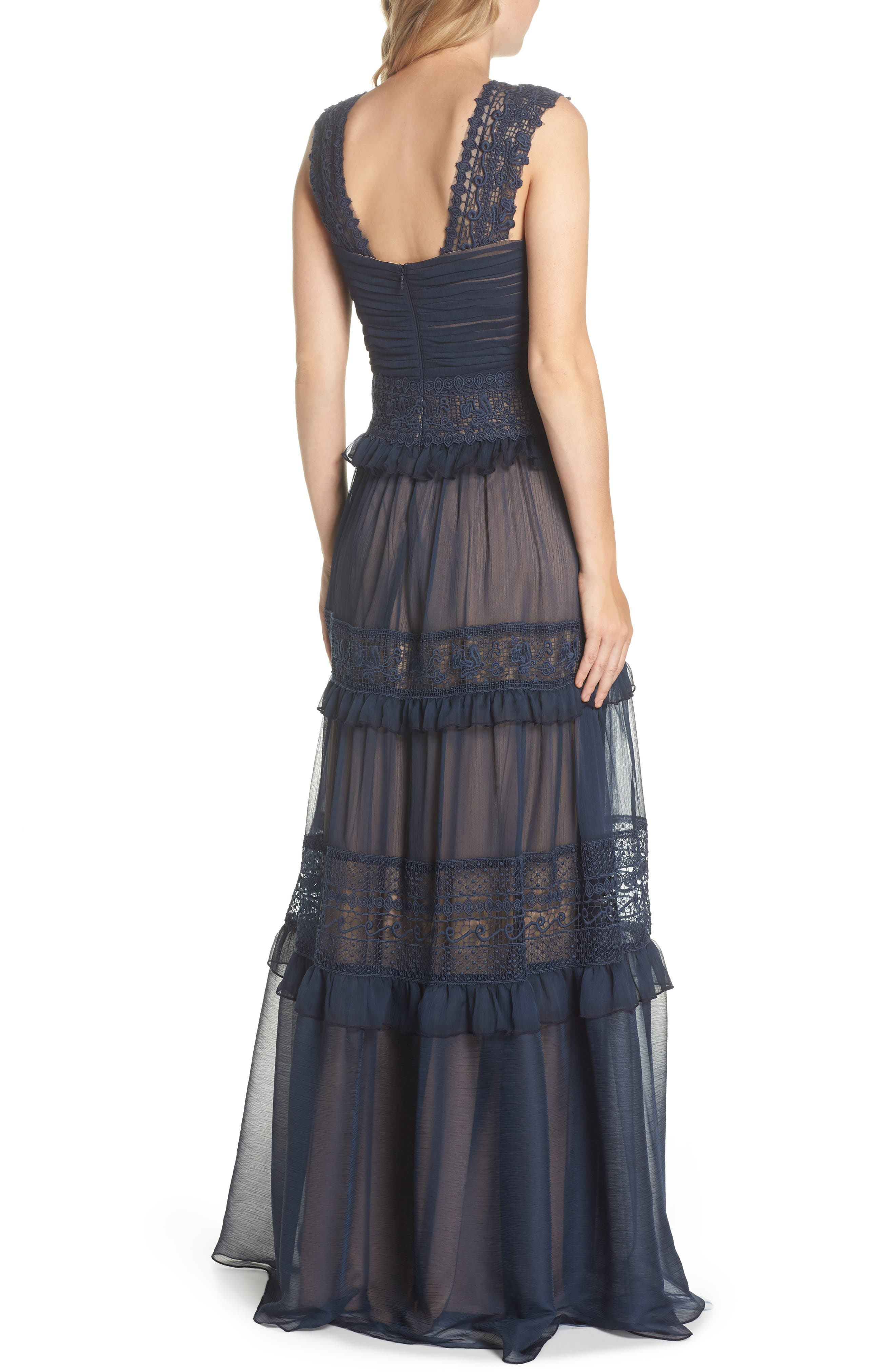 Tiered Lace & Chiffon Gown,                             Alternate thumbnail 2, color,                             Navy/ Nude