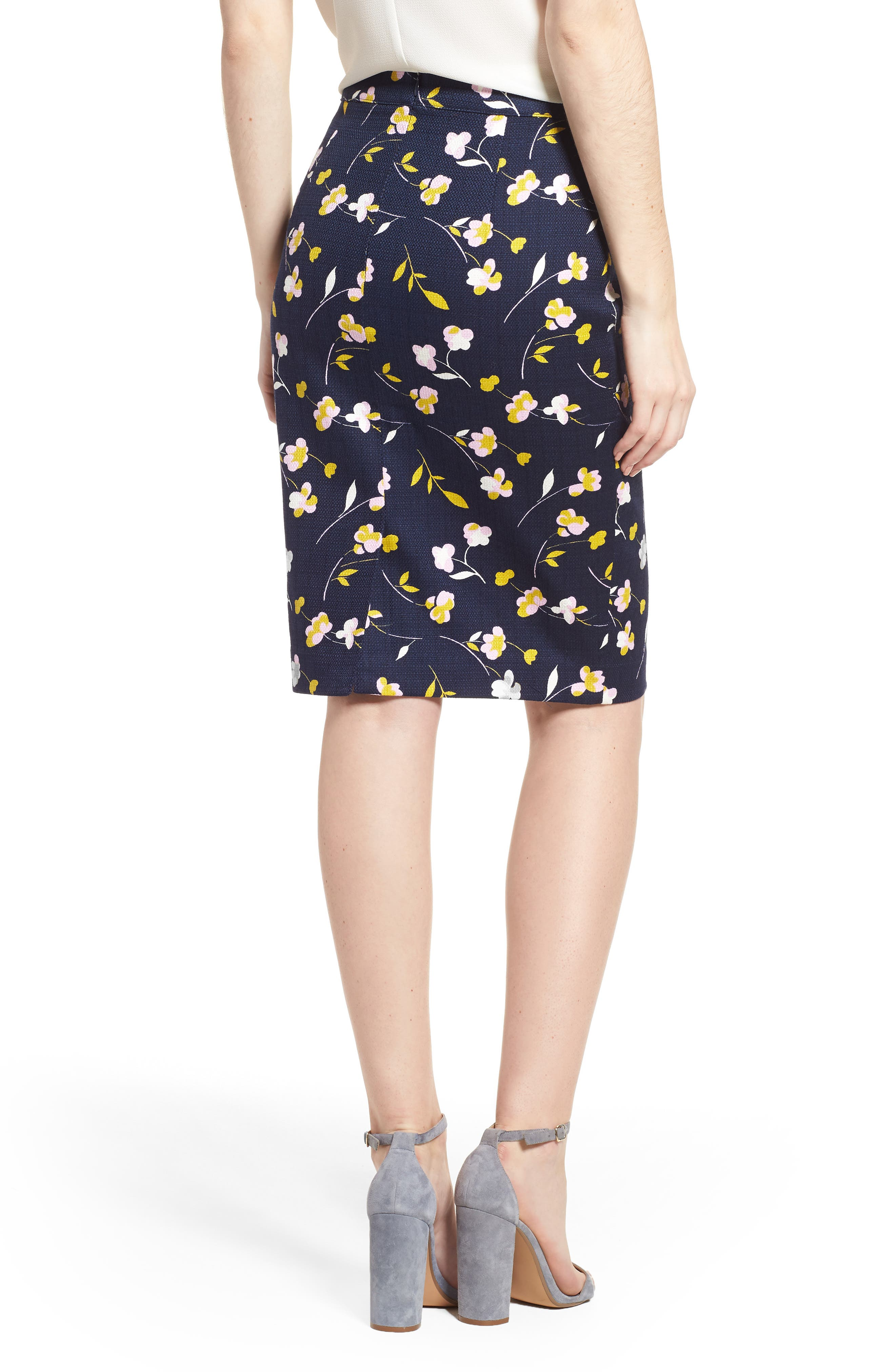 Martha Floral Pencil Skirt,                             Alternate thumbnail 2, color,                             Rosebay/ Wildflower