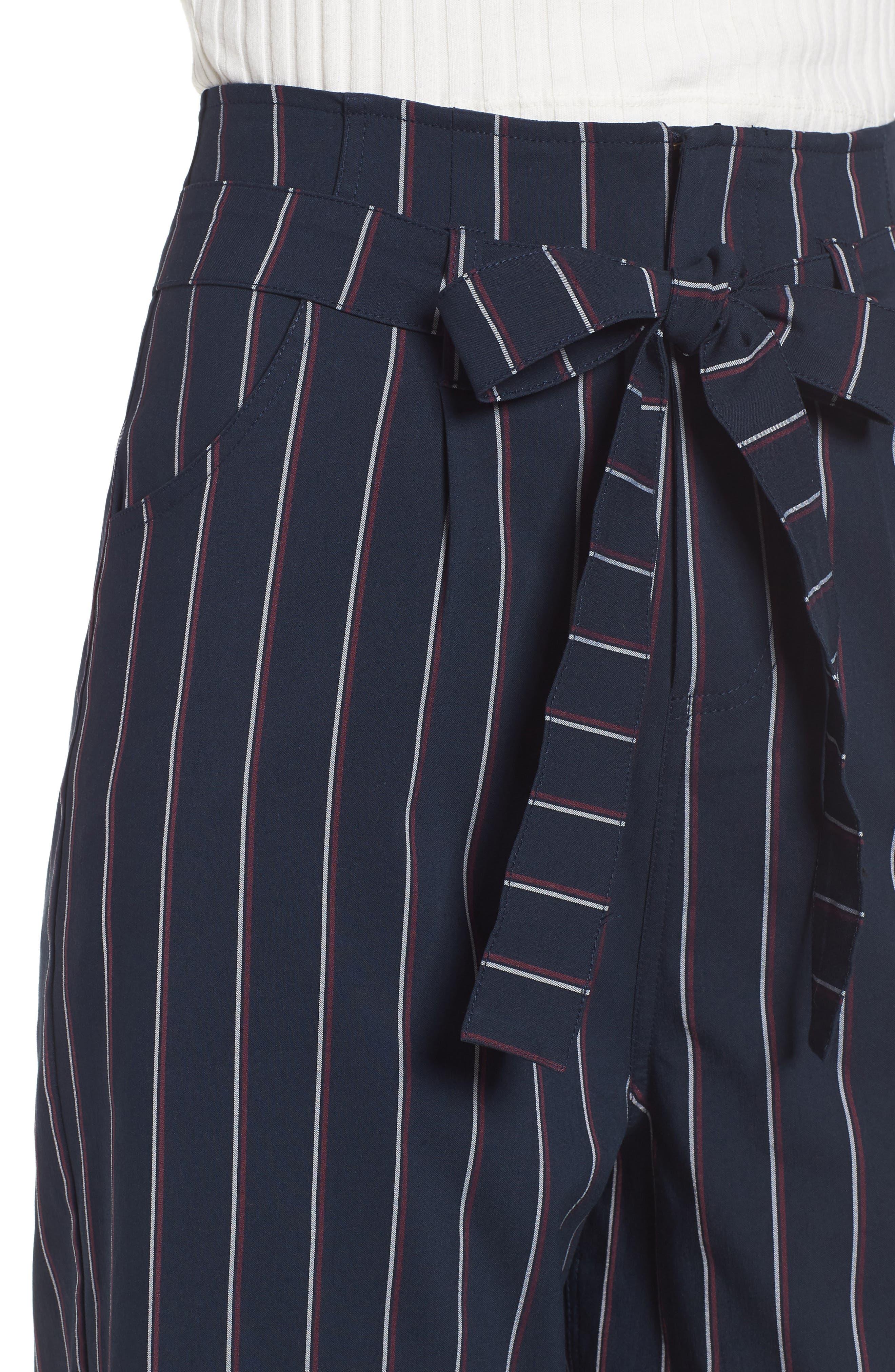 Tie Waist Crop Trousers,                             Alternate thumbnail 4, color,                             Navy Night Stripe