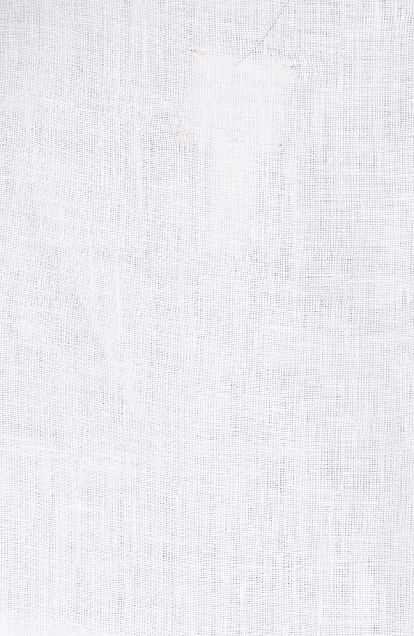 Embroidered Linen Top,                             Alternate thumbnail 5, color,                             Milk