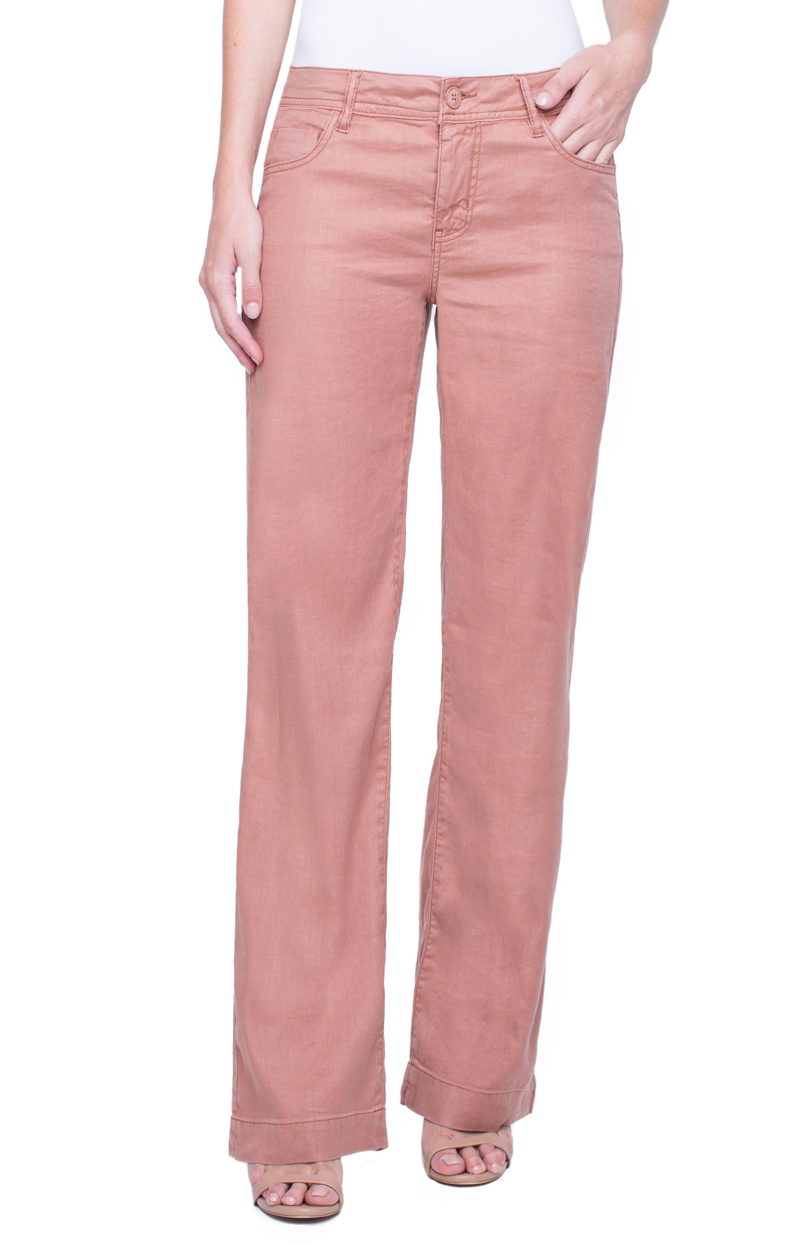 Emma Stretch Linen Pants,                         Main,                         color, Tuscan Sunset