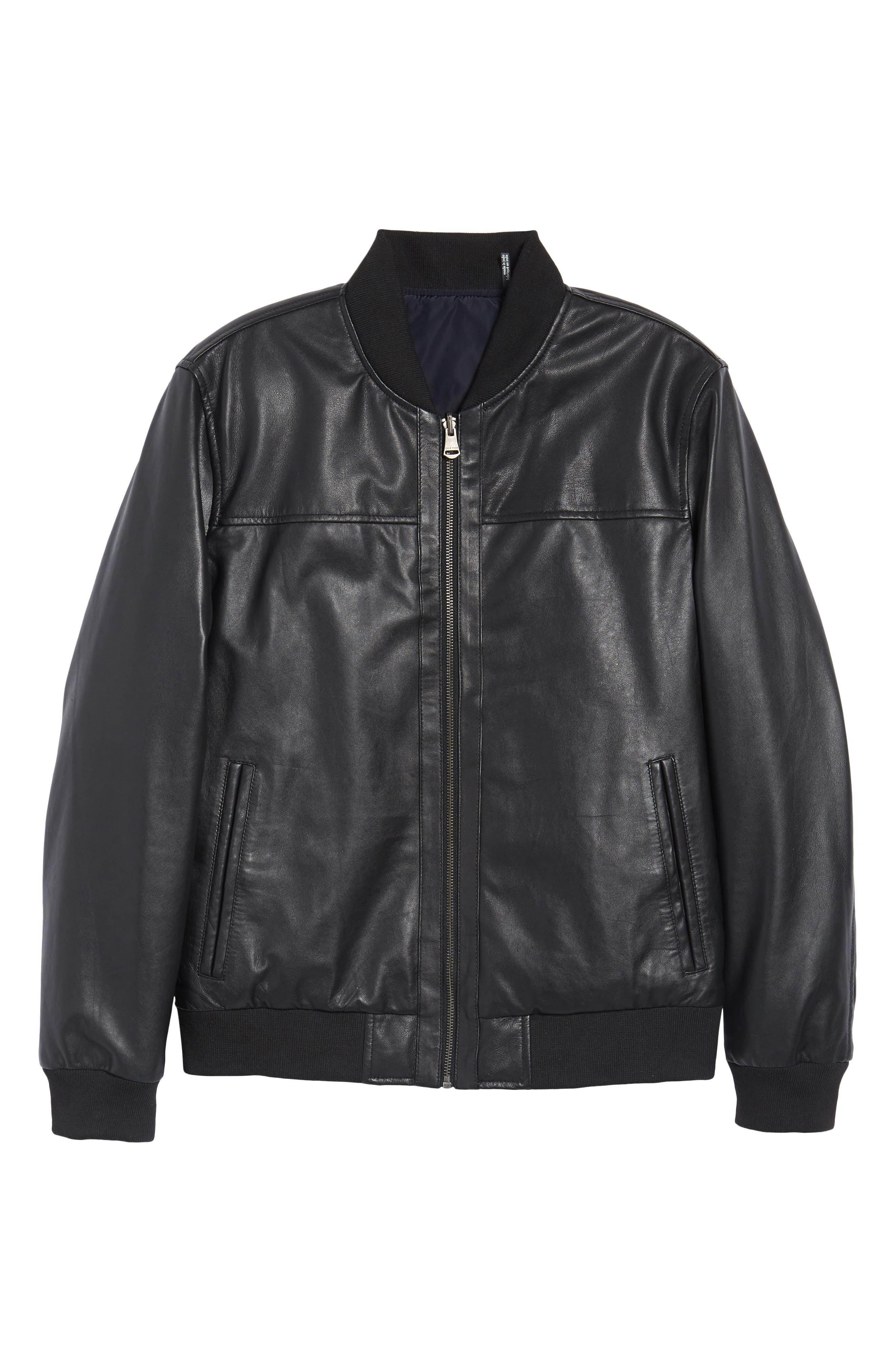 Reversible Leather Jacket,                             Alternate thumbnail 7, color,                             Black/ Navy