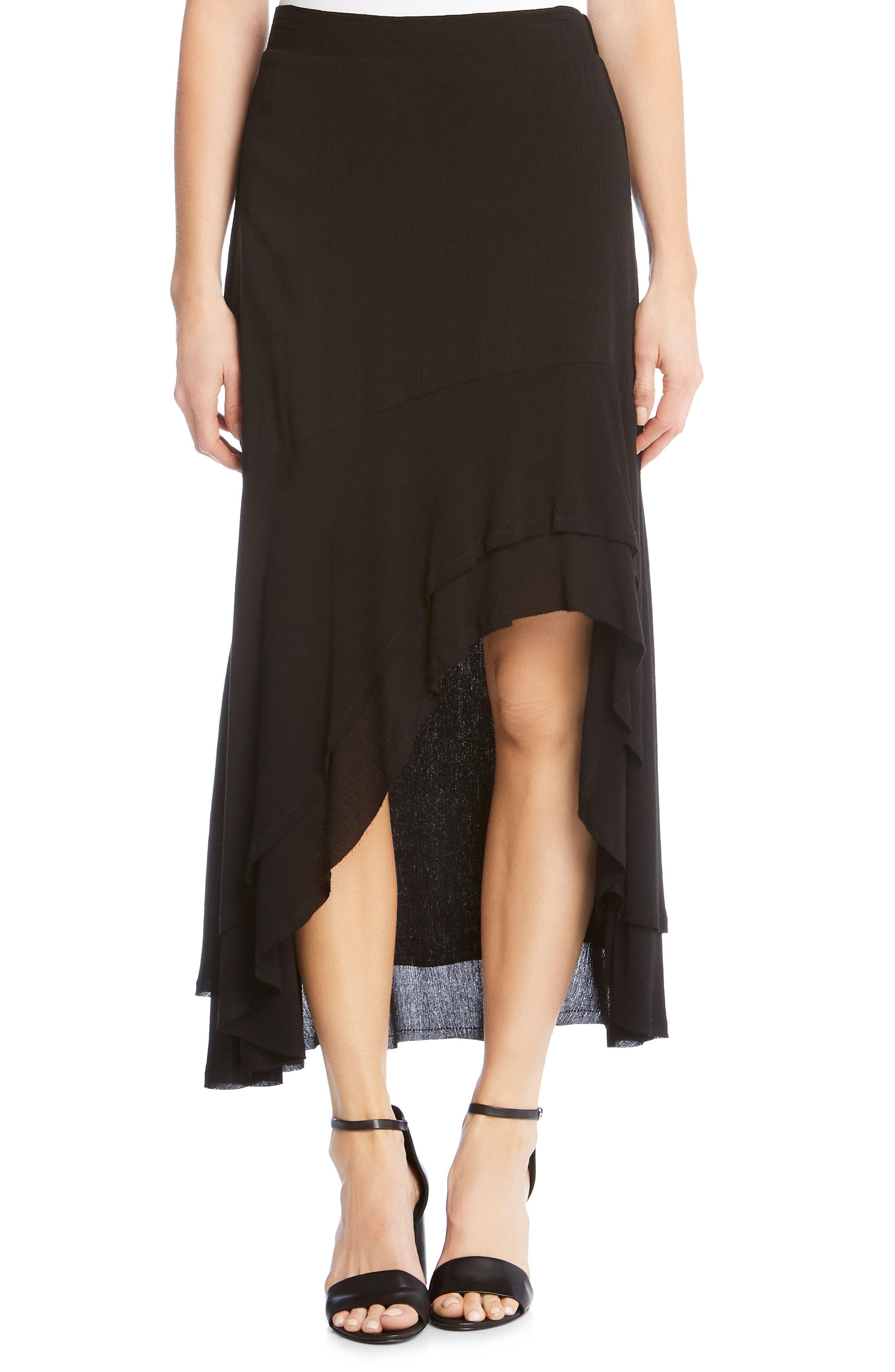 Asymmetrical Raw Edge Ruffle Skirt,                         Main,                         color, Black
