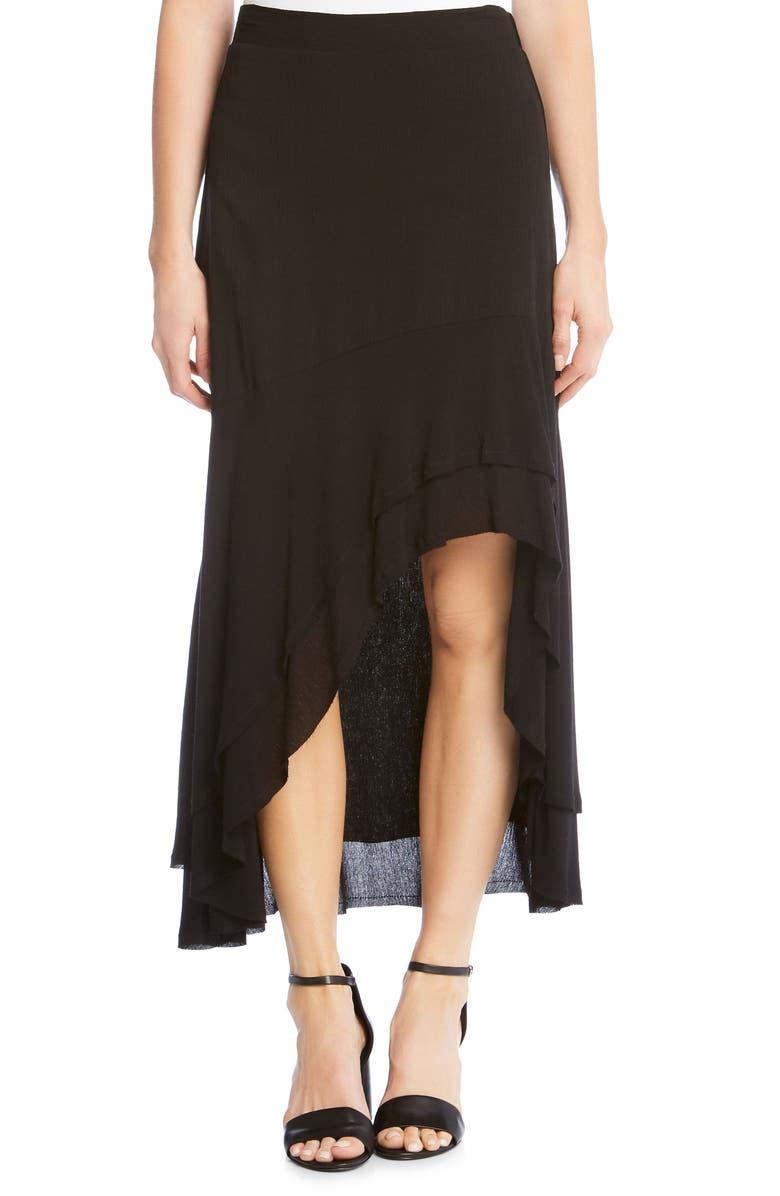 Asymmetrical Raw Edge Ruffle Skirt